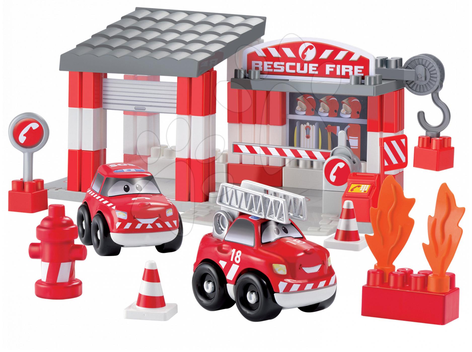 Stavebnice Abrick - požární stanice Écoiffier s 2 auty 59 dílů od 18 měsíců