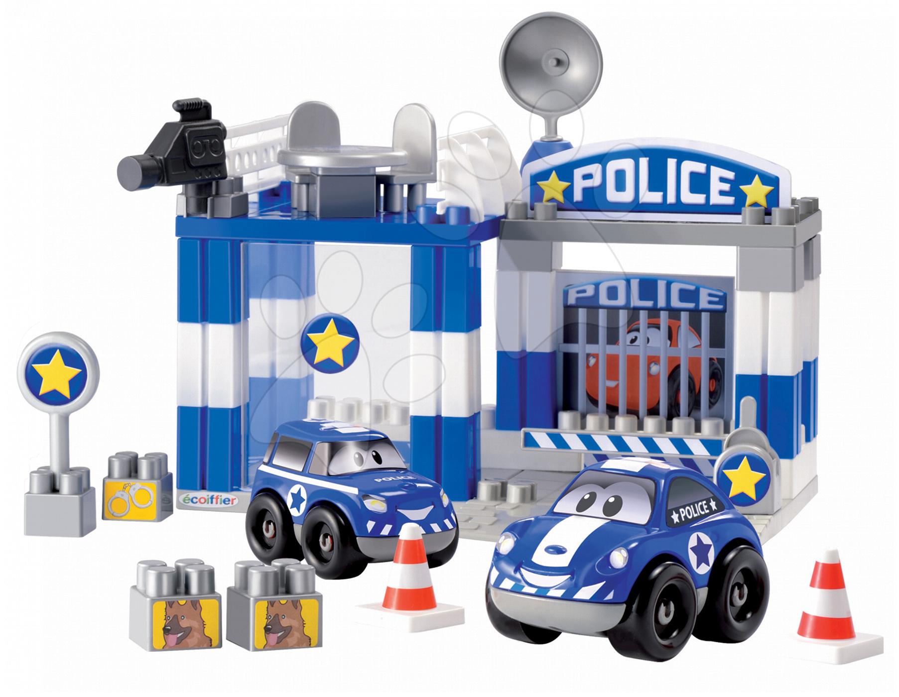 Stavebnice Abrick - policejní stanice s 2 auty Écoiffier 57 dílů od 18 měsíců