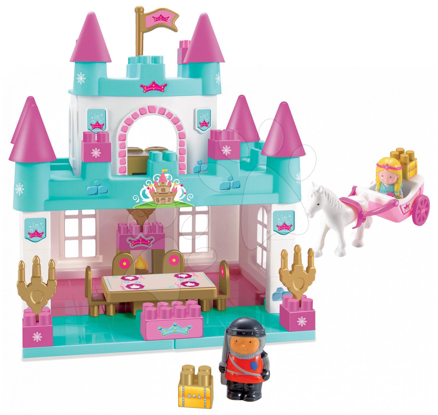 Stavebnica Abrick Veľký zámok pre princeznú Écoiffier s kočom a princeznou tyrkysový od 18 mes
