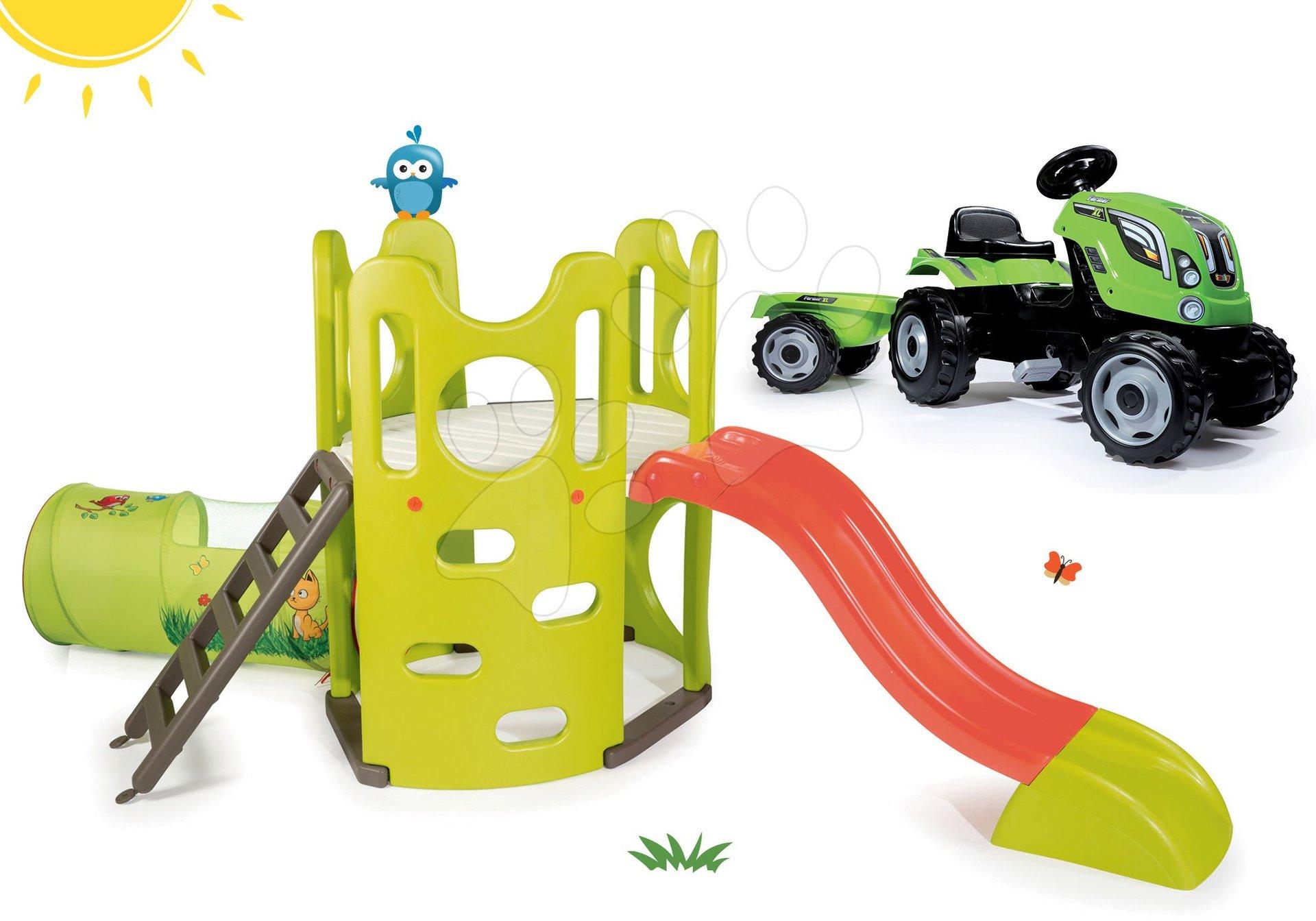 Preliezačky sety - Set preliezačka Tour Aventure Smoby so šmykľavkou dĺžka 160 cm a šliapací traktor RX Bull s prívesom