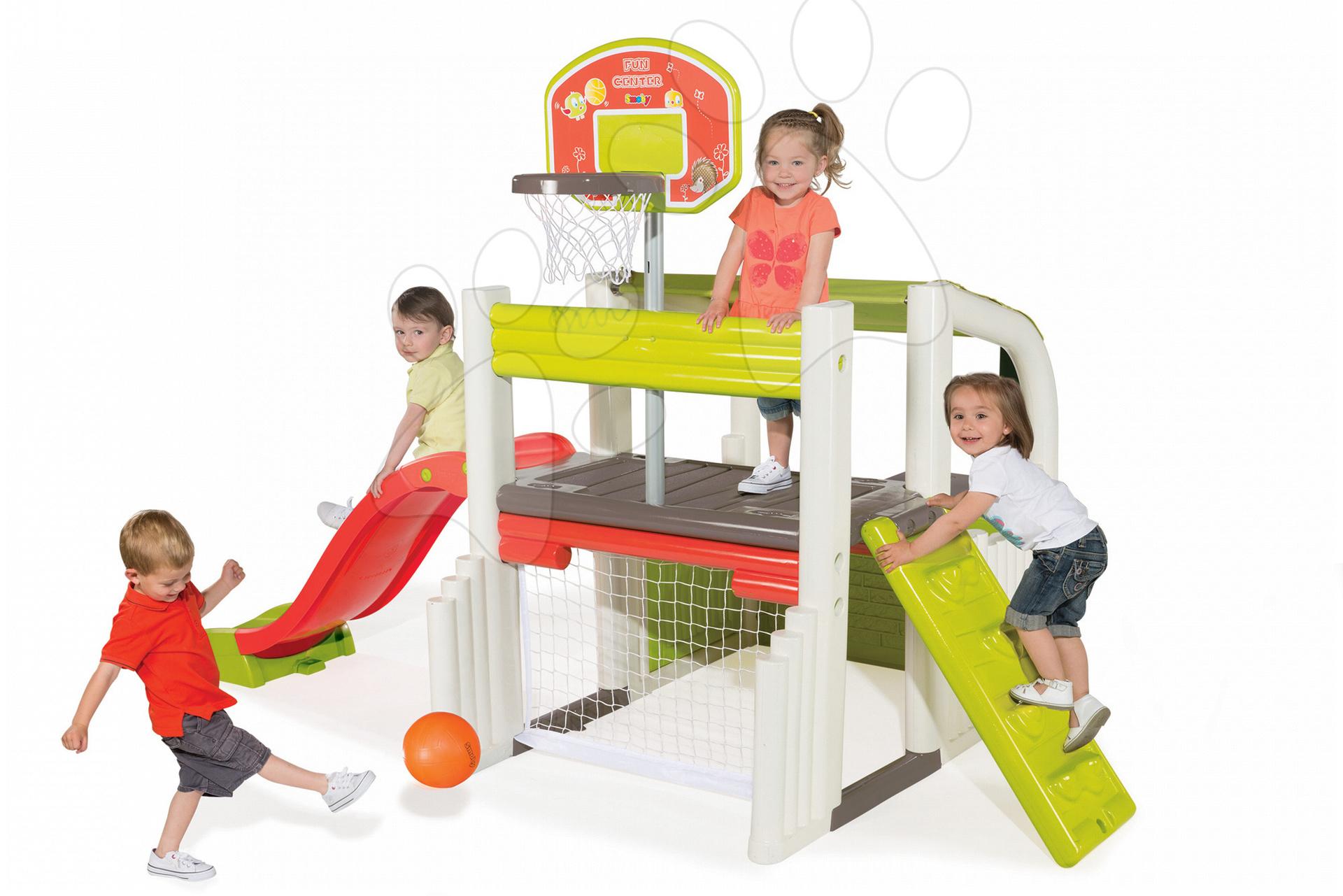 Hracie centrá - Hracie centrum Fun Center Smoby so šmykľavkou dlhou 150 cm a basketbalovým košom od 24 mes