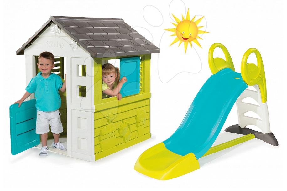 Domčeky so šmykľavkou - Set domček Pretty Blue Smoby a šmykľavka Toboggan KS s dĺžkou 150 cm od 24 mes