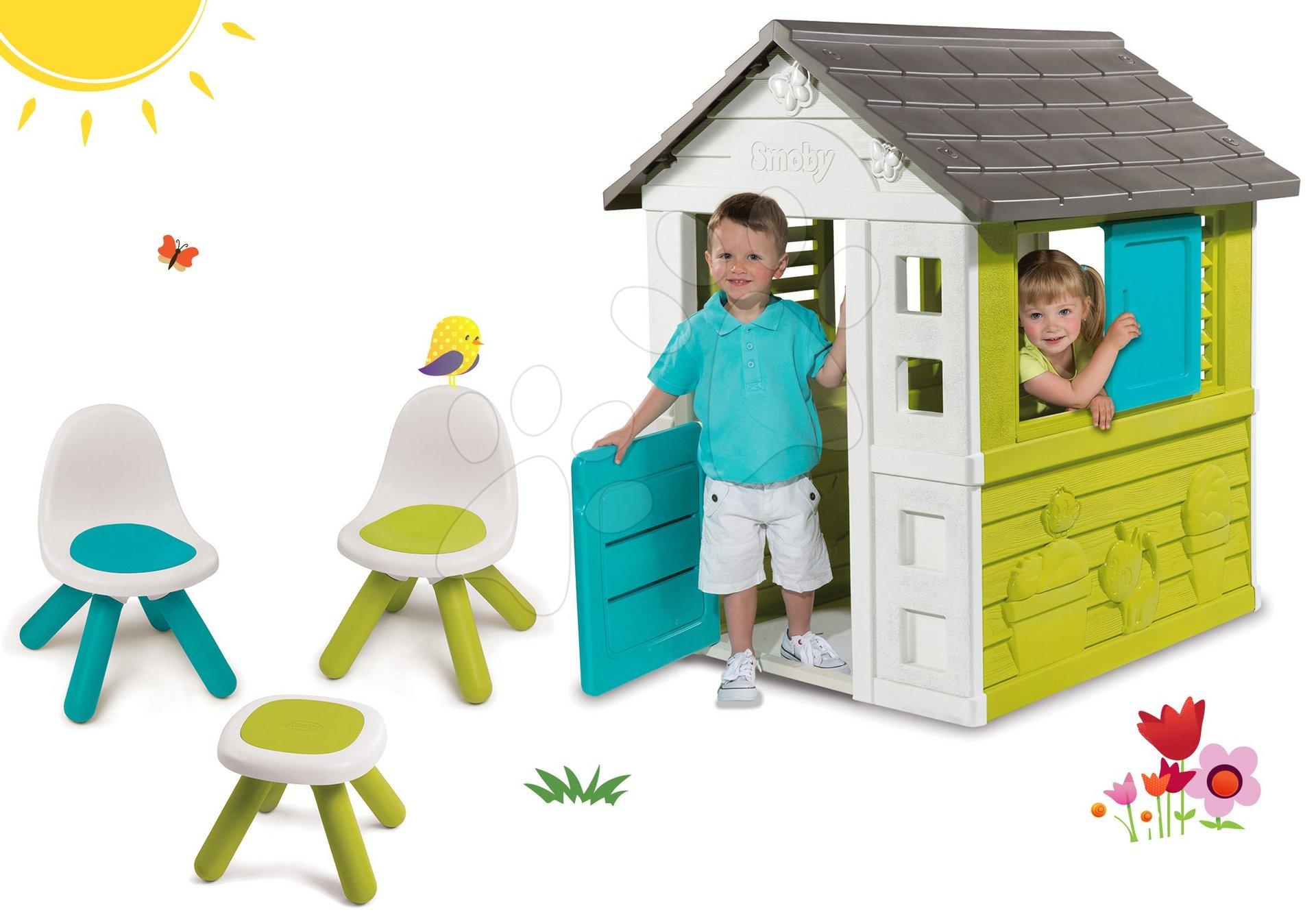 Domčeky s nábytkom - Set domček Pretty Blue Smoby a Piknik stolík s dvoma stoličkami KidChair Blue od 24 mes
