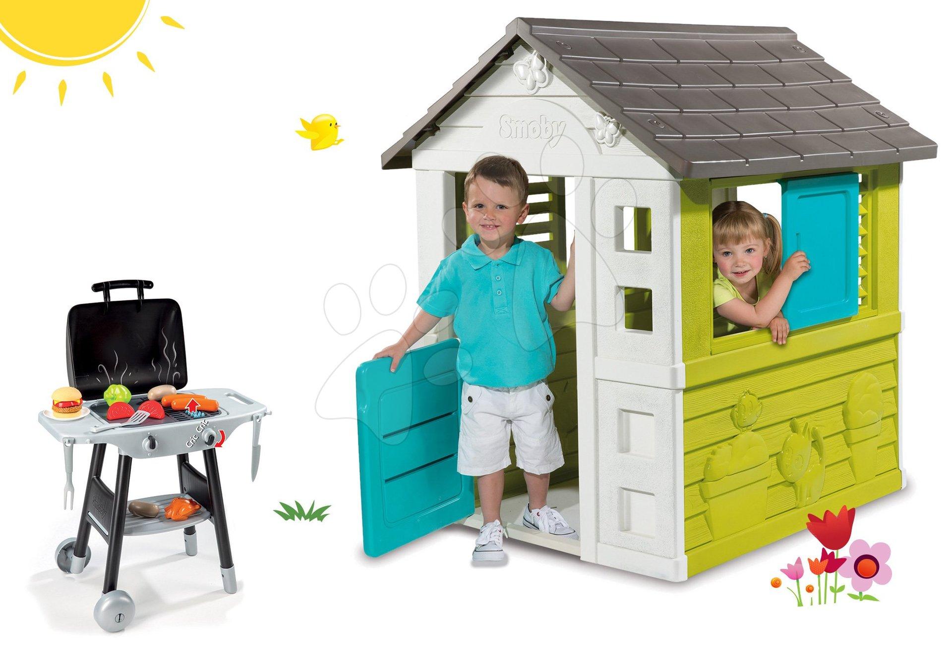 Smoby set domček Pretty Blue so zasúvacou okenicou a kuchynka Barbecue Grill na kolieskach 310064-12