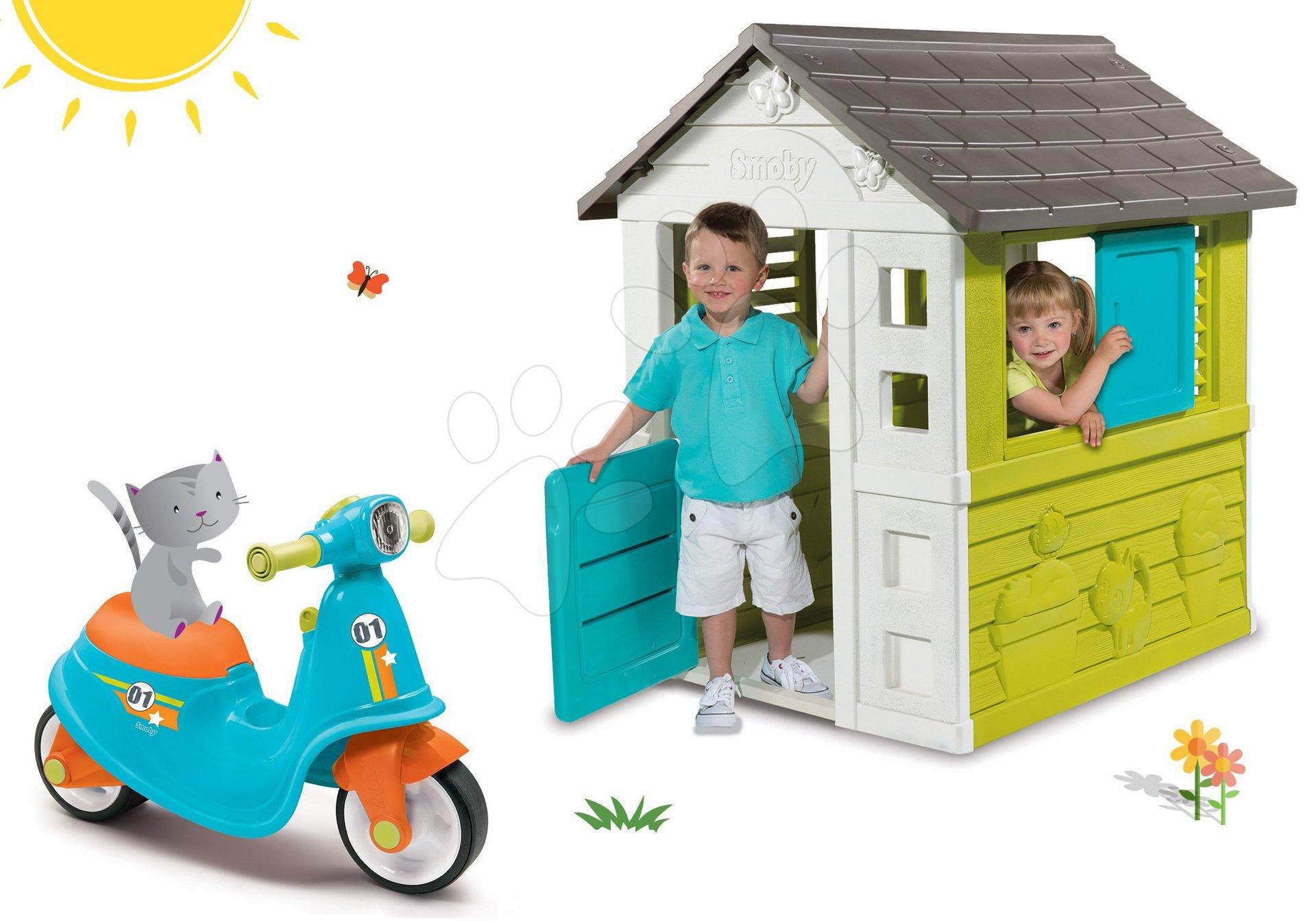Smoby set domček Pretty Blue so zasúvacou okenicou a odrážadlo Scooter Blue s gumenými kolesami 310064-14