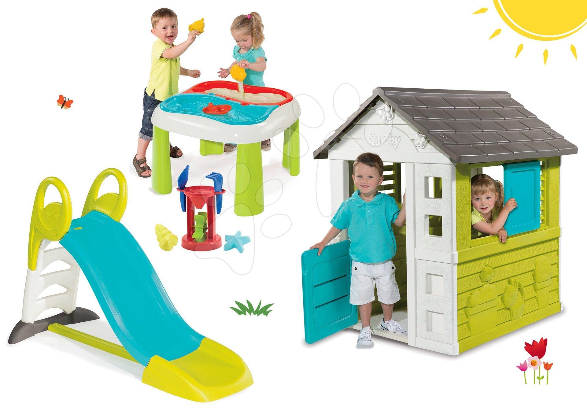 Smoby set dětský domeček Pretty Blue, skluzavky Toboggan KS a stolek 310064-5