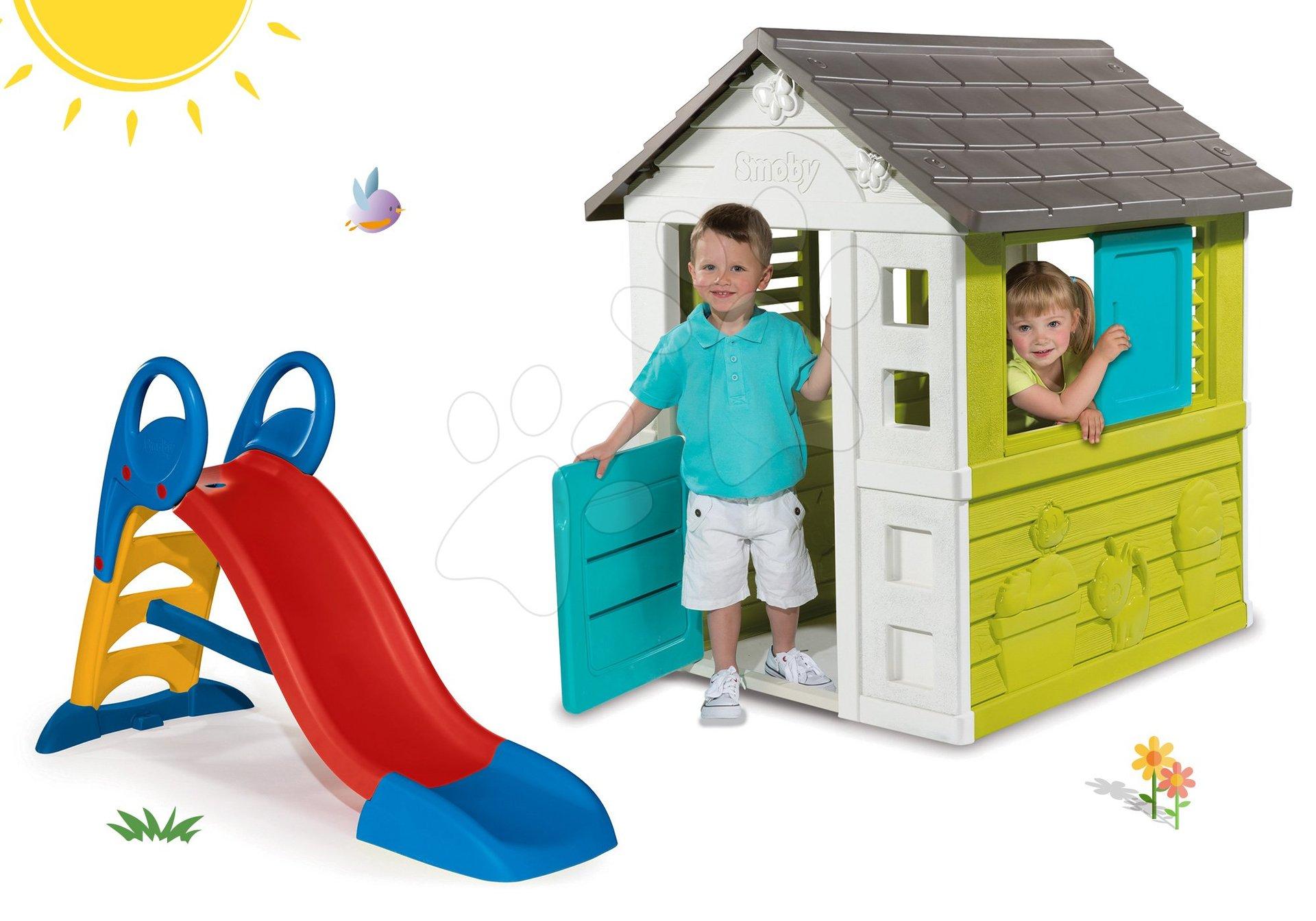 Smoby set domček Pretty Blue so zasúvacou okenicou a šmykľavka Toboggan KS 310064-7