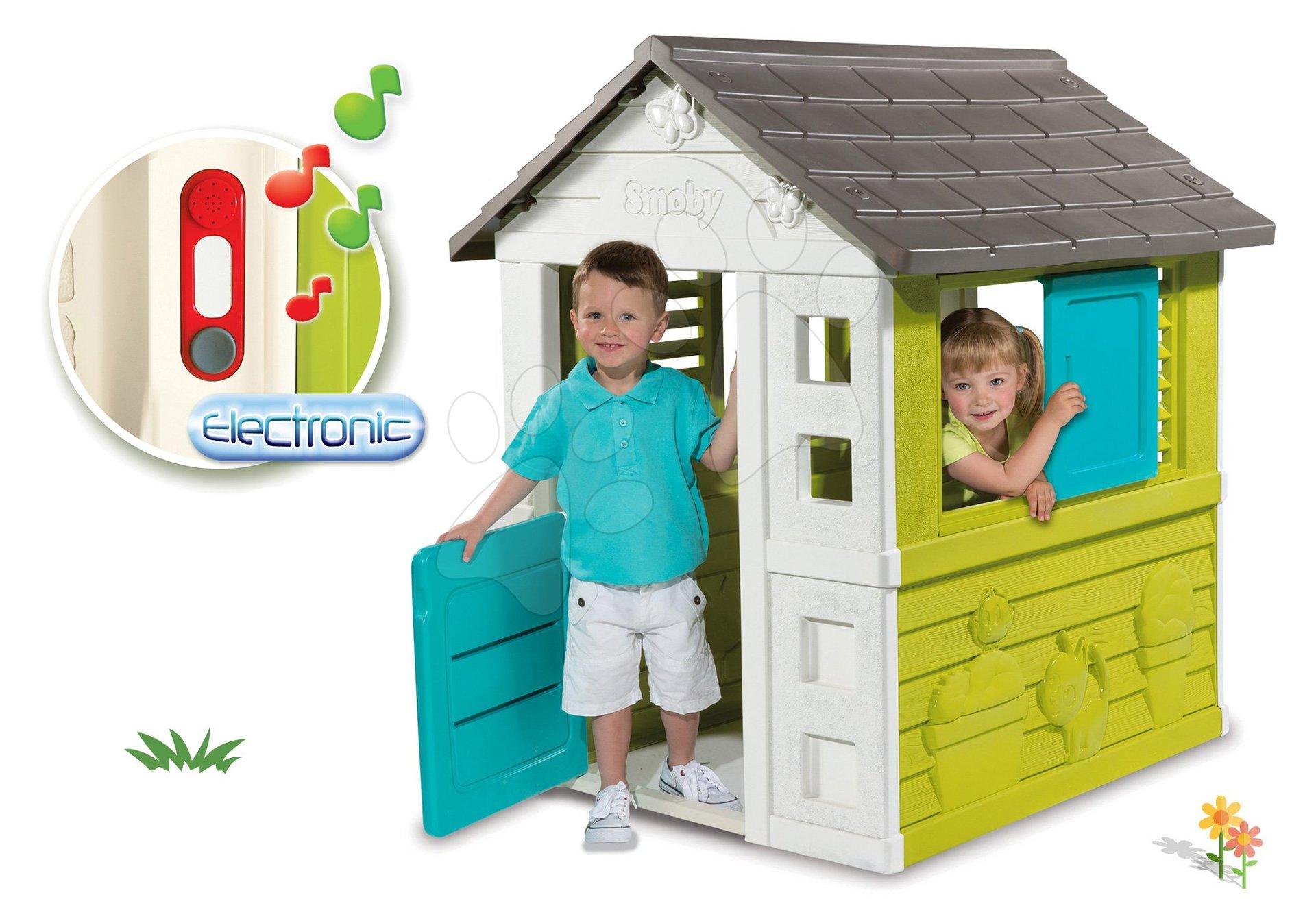 Smoby set domček Pretty Blue so zasúvacou okenicou a darček elektronický zvonček 310064-8