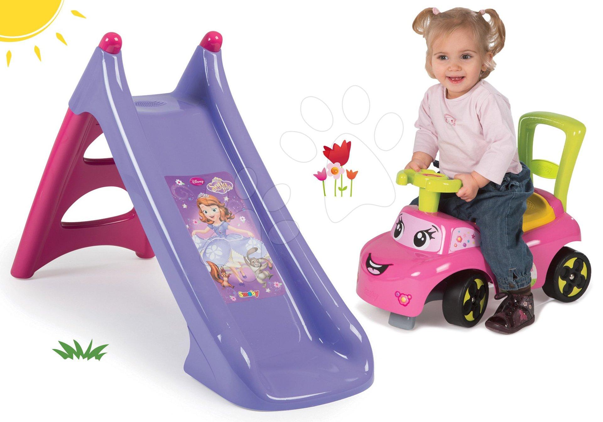 Šmykľavky sety - Set šmykľavka Sofia Prvá Smoby Toboggan XS dĺžka 90 cm a auto odrážadlo Auto Sofia od 24 mes