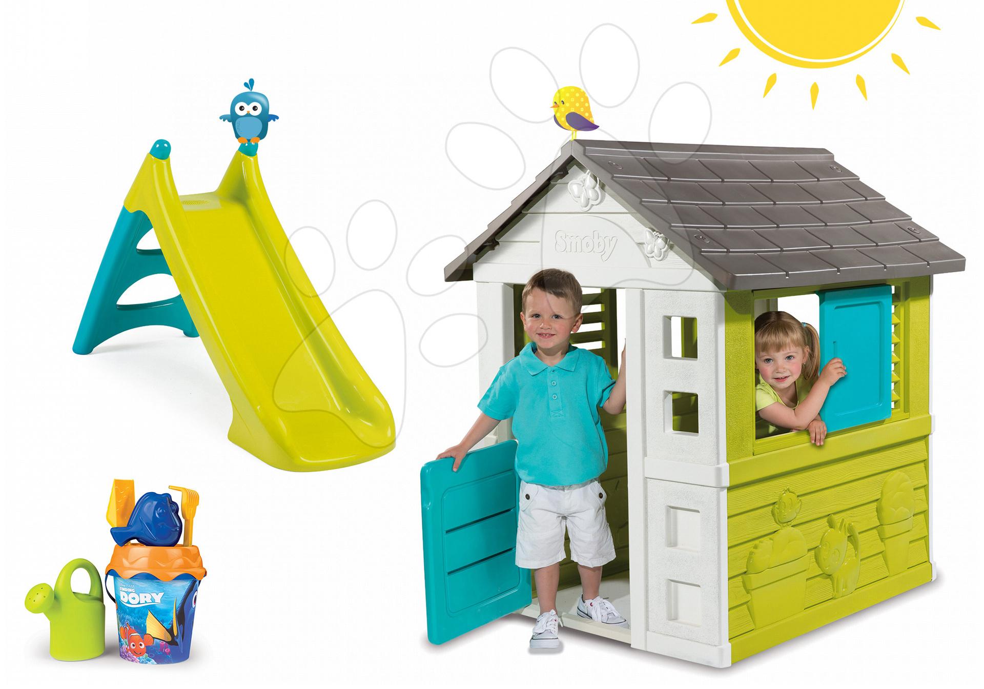 Domčeky so šmykľavkou - Set domček Pretty Blue Smoby a šmykľavka Toboggan XS a vedierko Dory s krhličkou od 24 mes