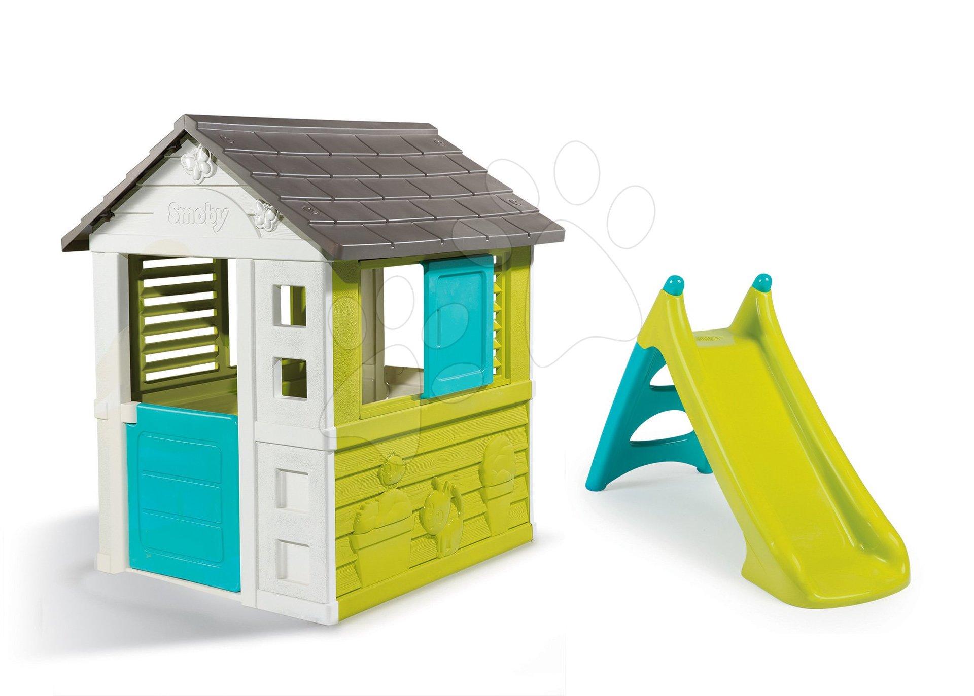Domčeky so šmykľavkou - Set domček Pretty Blue Smoby a šmykľavka Toboggan XS s dĺžkou 90 cm od 24 mes