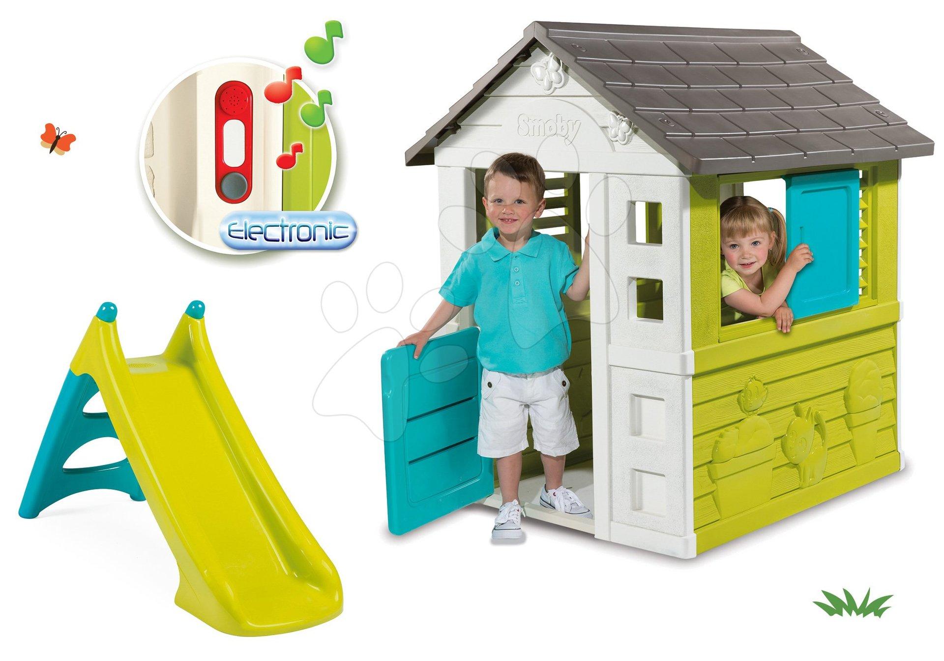 Set domček Pretty Blue Smoby so zasúvacou okenicou, šmykľavka Toboggan XS a darček elektronický zvonček od 24 mes