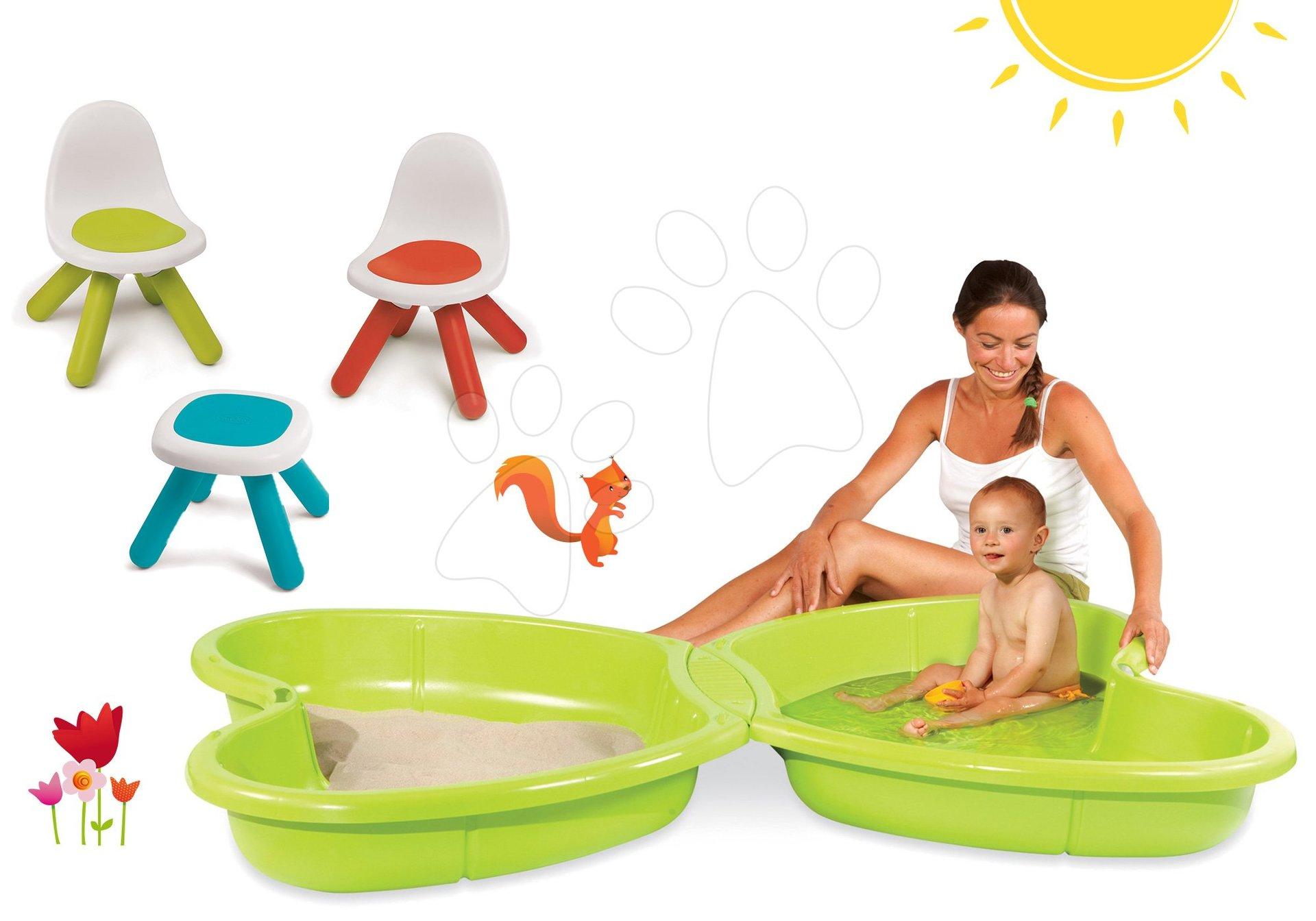 Smoby pískoviště pro děti Motýl a dětský stůl Piknik 310143-3 zelené