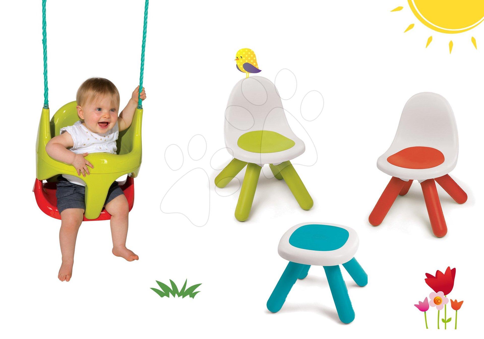 Smoby hojdačka pre deti Bebe 2v1 a detský stôl Piknik s dvoma stoličkami KidChair 310194-1