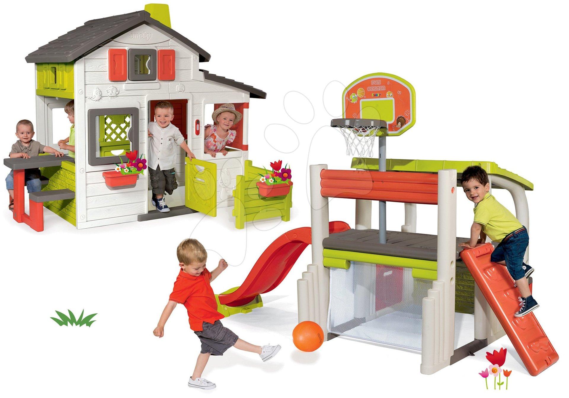 Set domček Priateľov Smoby s predzáhradkou a hracie centrum Fun Center so šmykľavkou