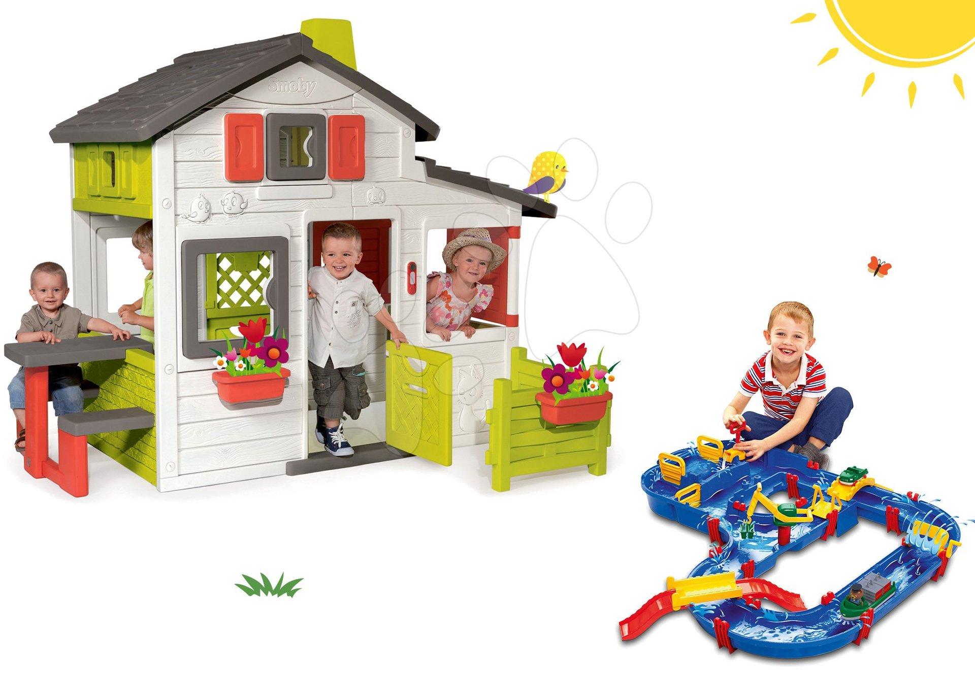 Smoby set domček Priateľov s predzáhradkou a vodná dráha AquaPlay MegaBridge 310209-16