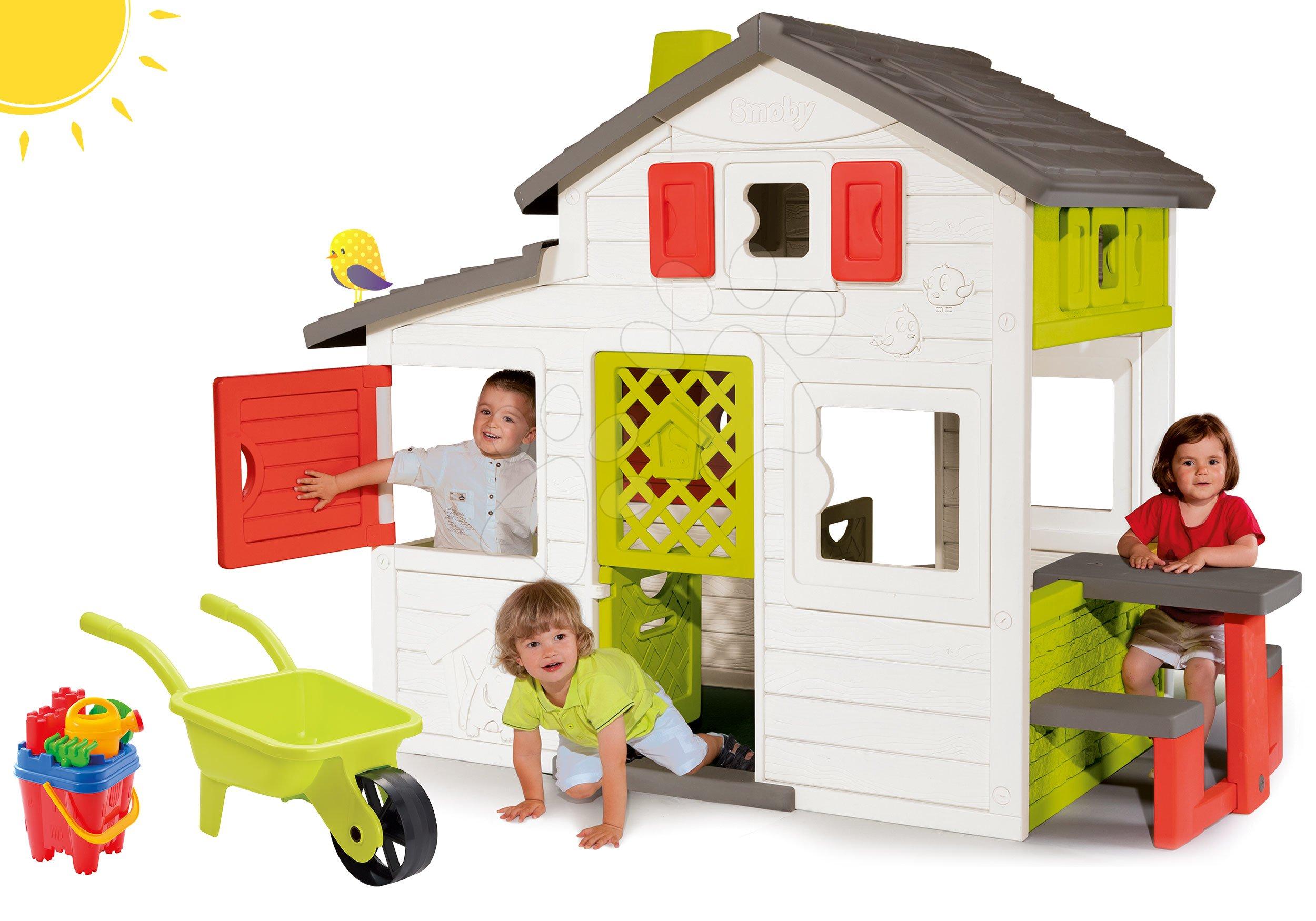 Domčeky s náradím - Set domček Priateľov Smoby a fúrik s vedierkom