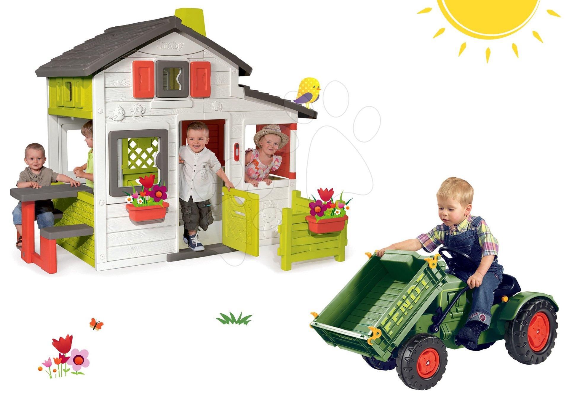 Set domček Priateľov Smoby s predzáhradkou a traktor na šliapanie Fendt s vyklápačkou a klaksónom