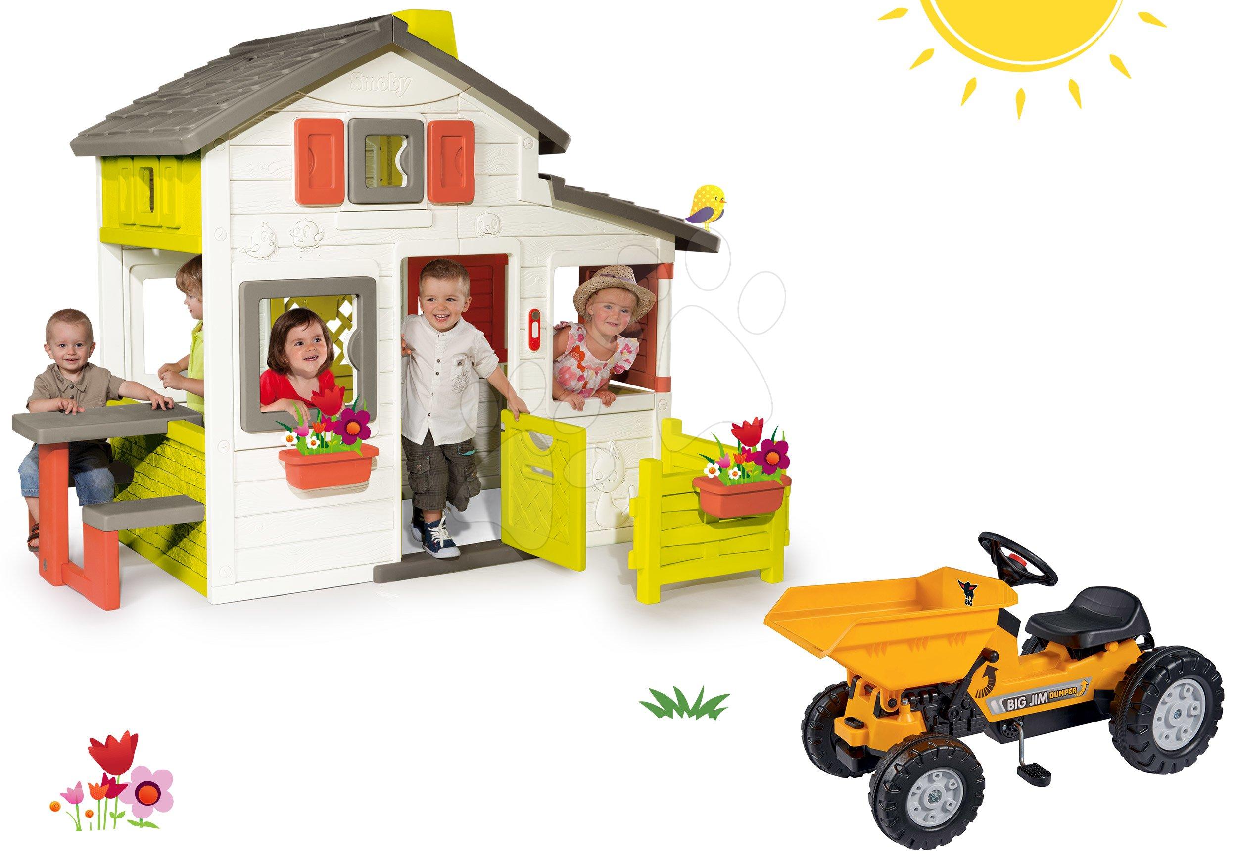 Szett házikó Barátok Smoby kiskerttel és pedálos traktor Jim Dumper billenőplatóval