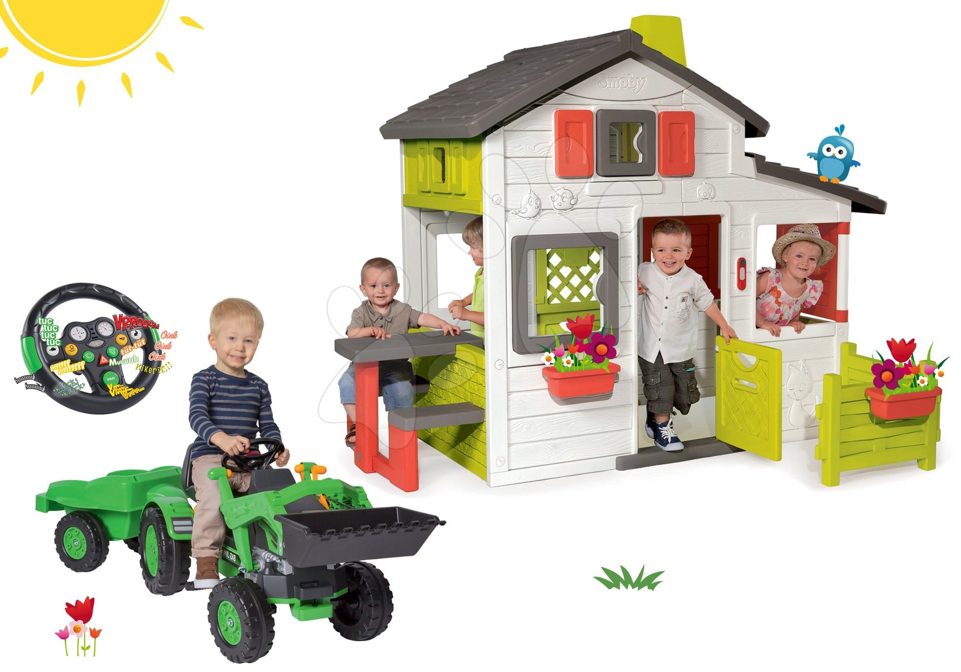 Szett házikó Barátok Smoby kiskerttel és pedálos traktor Jim Loader utánfutóval és elektronikus kormánnyal