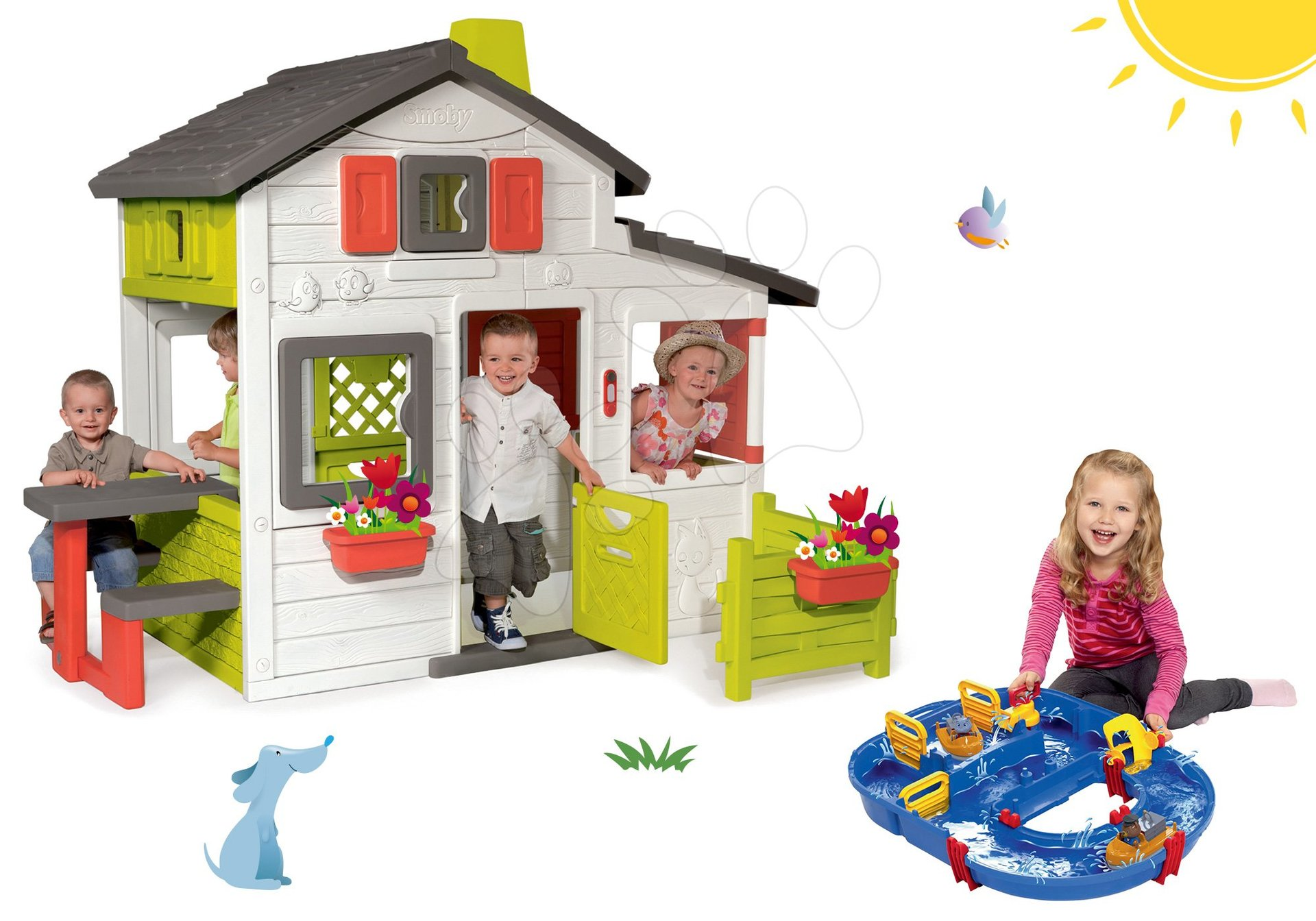 Smoby set domček Priateľov s predzáhradkou a vodná dráha AquaPlay s priehradou a vodnou pumpou ako darček 310209-35