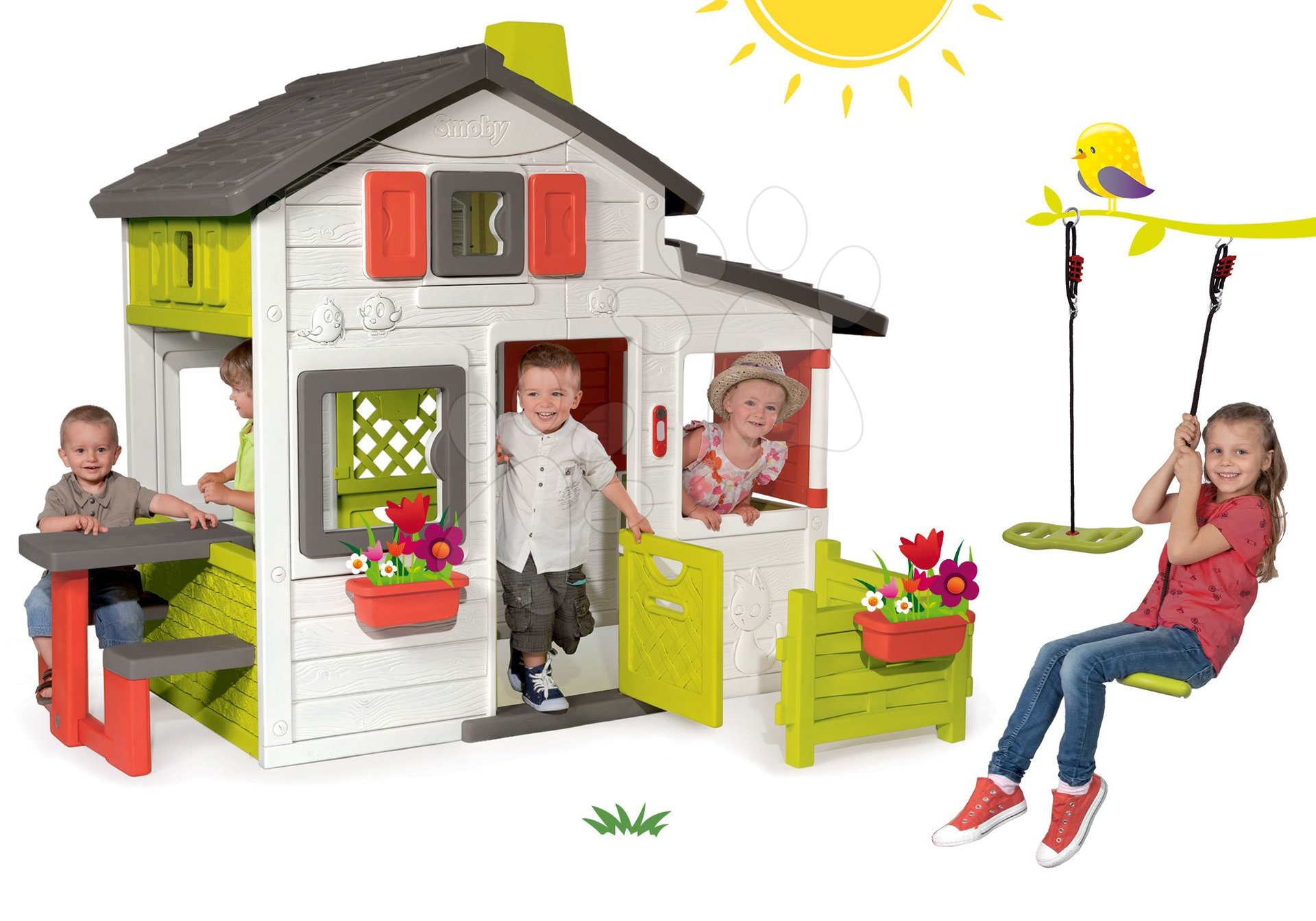 Set domček Priateľov Smoby s predzáhradkou a darček výškovo nastaviteľná hojdačka Activity Swing