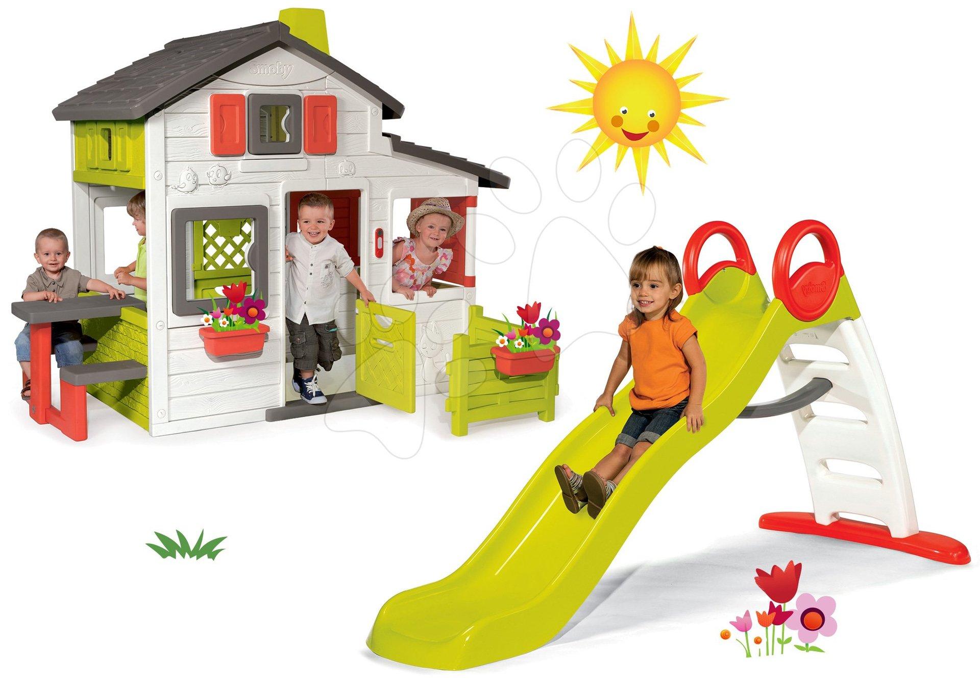 Set domeček Přátel Smoby a skluzavka Funny Toboggan s délkou 2 m