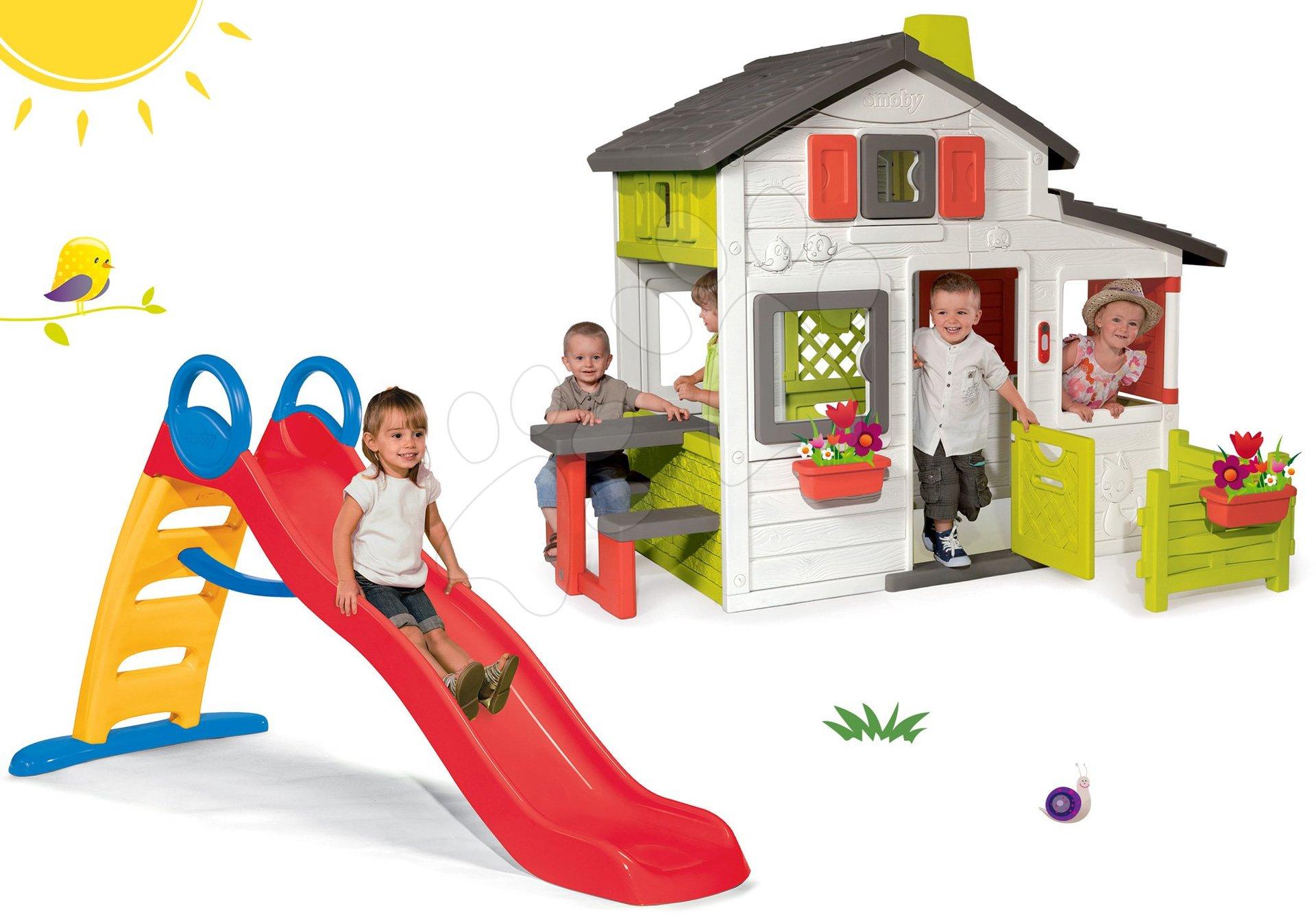 Szett házikó Barátok Smoby előkerttel és Funny Toboggan csúszda 2 méteres