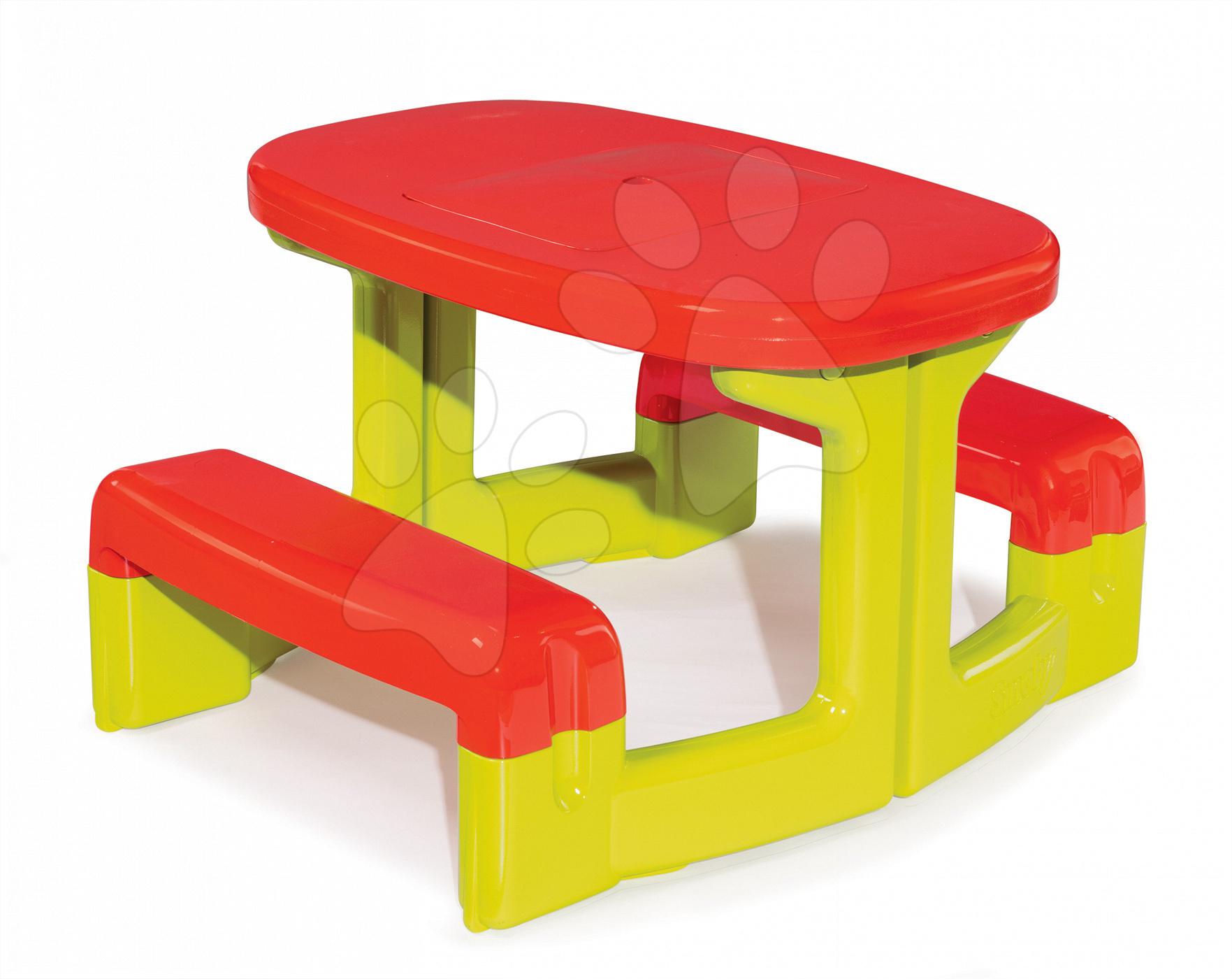 Detský záhradný nábytok - Stôl Piknik Smoby s úložným priestorom zeleno-červený od 24 mes