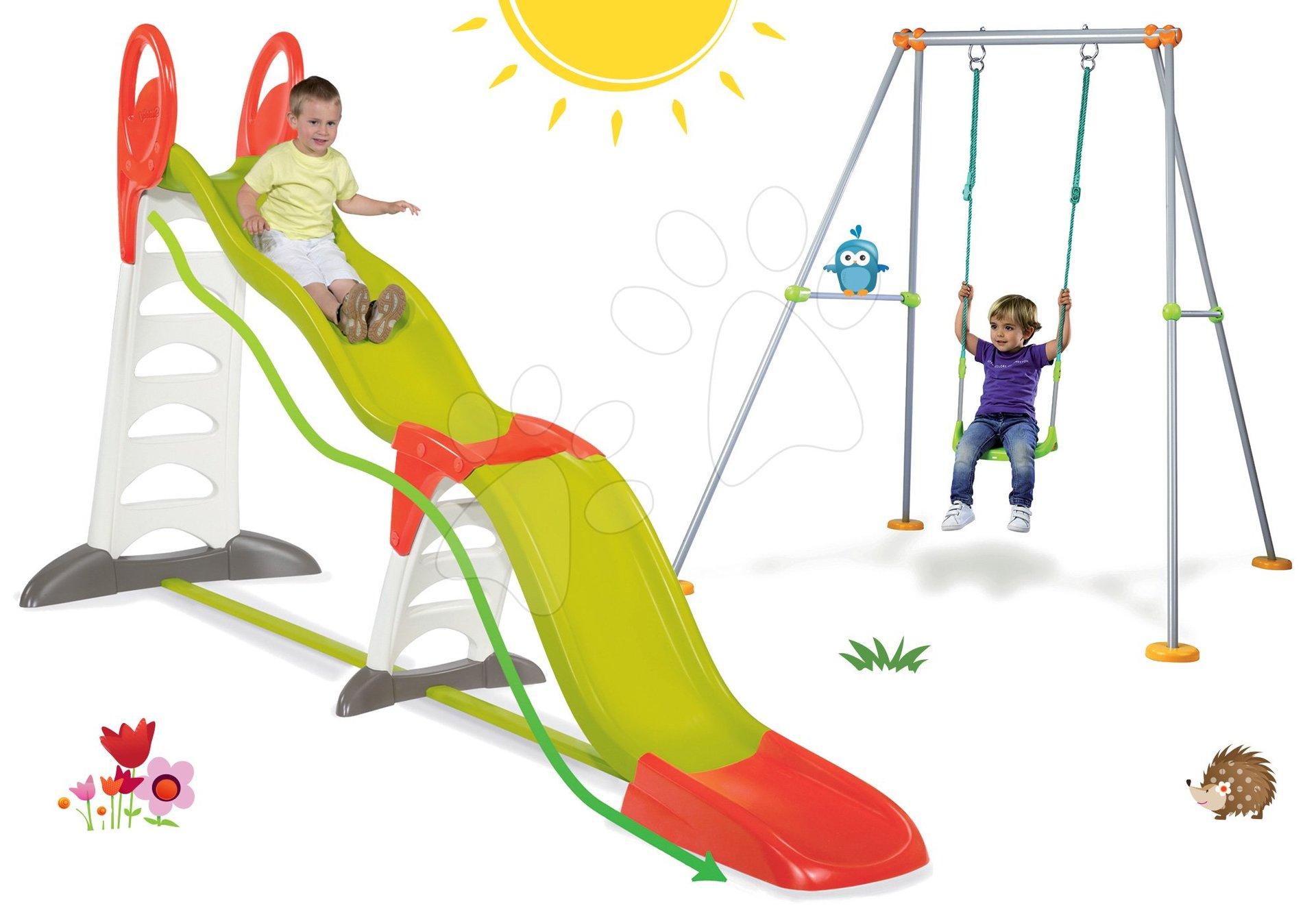 Smoby set šmykľavka pre deti Toboggan Super Megagliss 2v1 a hojdačka s kovovou konštrukciou výška 180 cm 310260-14