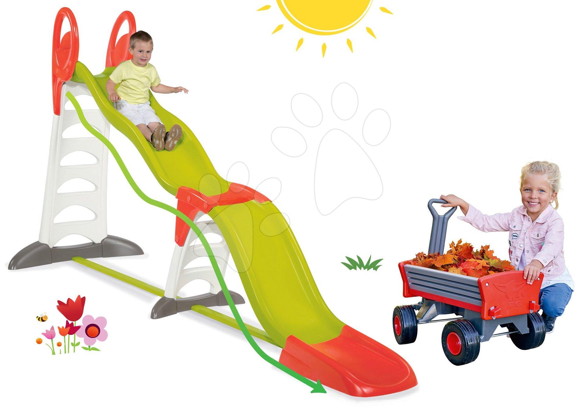 Smoby set detská šmykľavka Toboggan Super Megagliss 2v1 a odrážadlo motorka s gumenými kolesami a zmrzlinou 310260-17