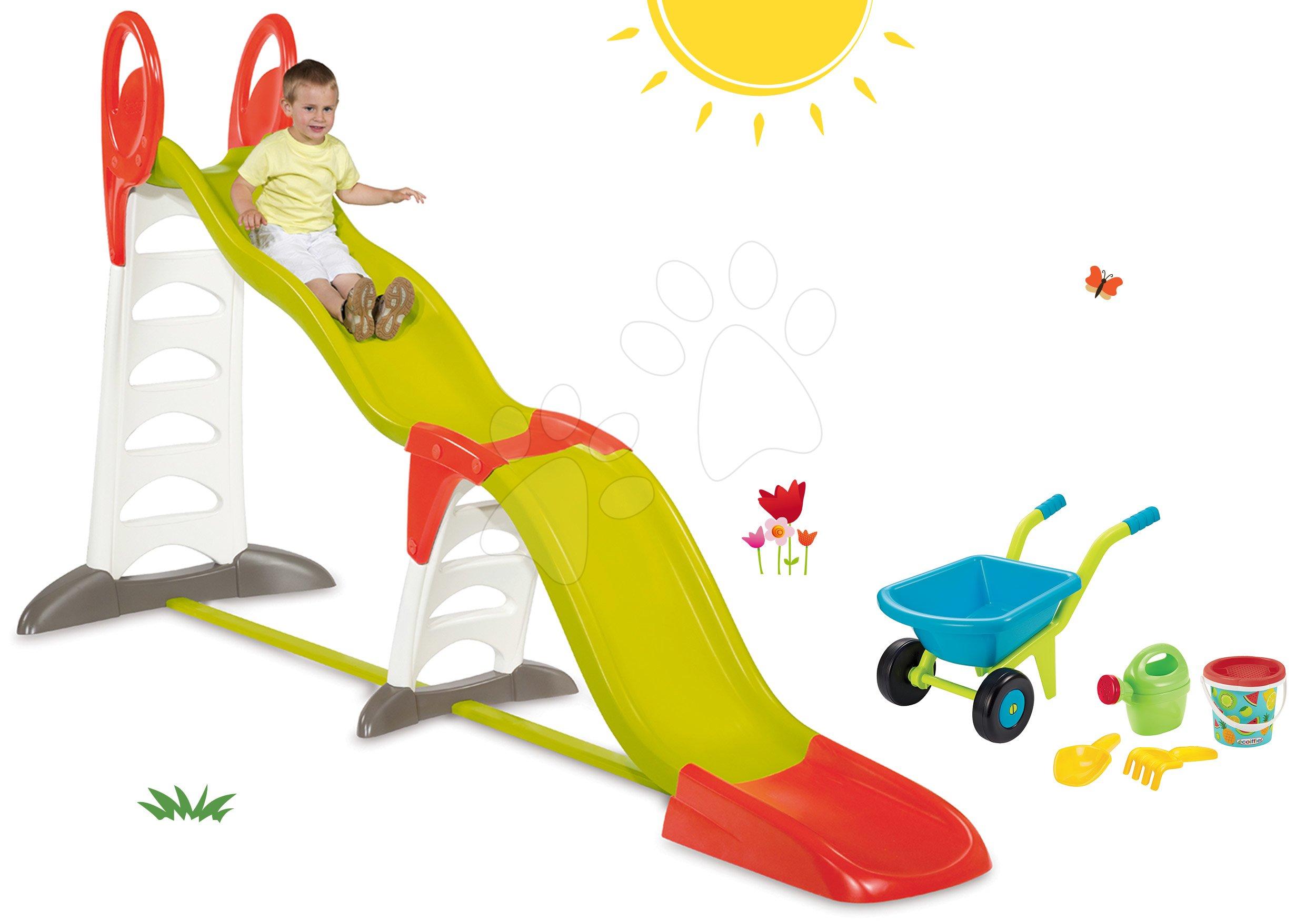 Smoby set detská šmykľavka Toboggan Super Megagliss 2v1 a fúrik set s vedierkom ako darček 310260-18