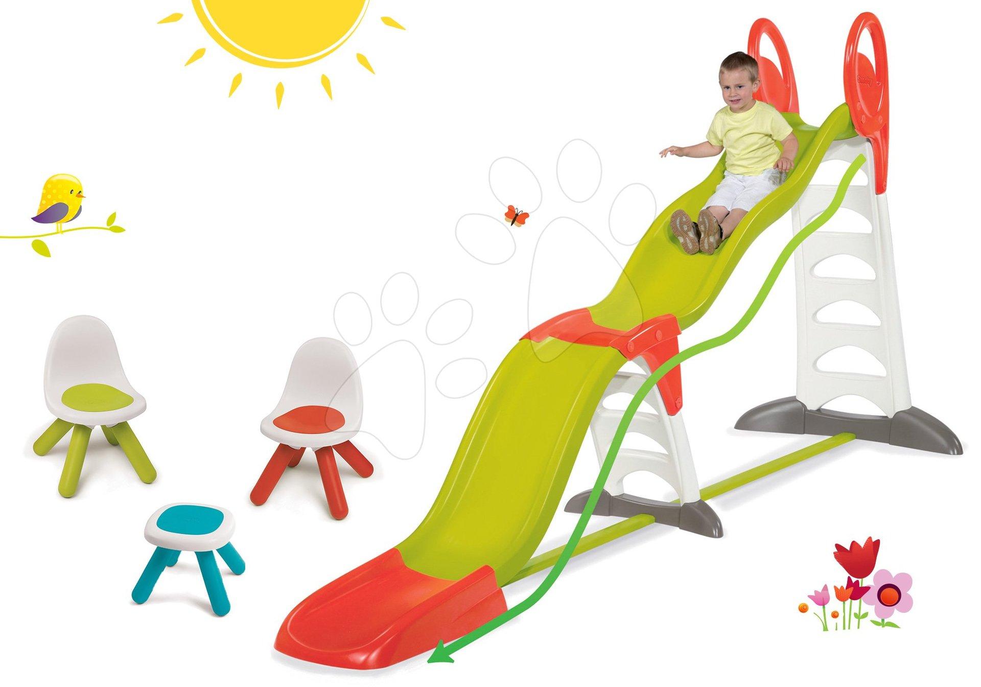 Set skluzavka Toboggan Super Megagliss 2v1 Smoby 3,75/1,5 m a Piknik stolek se dvěma židlemi KidChair od 24 měsíců