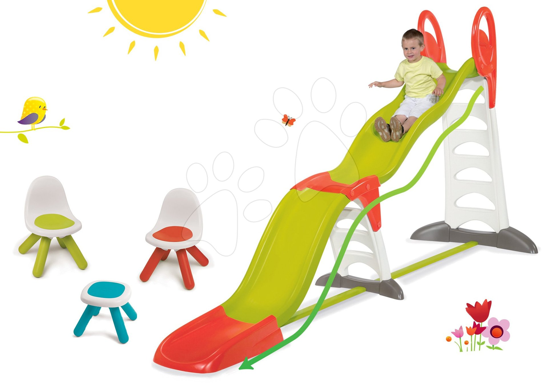 Šmykľavky sety - Set šmykľavka Toboggan Super Megagliss 2v1 Smoby dĺžka 3,75/1,5 m a Piknik stolík s dvoma stoličkami KidChair od 24 mes
