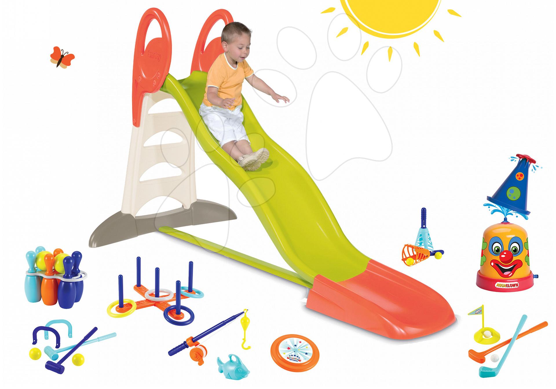 Set šmykľavka Toboggan XL Smoby s vodou dĺžka 230 cm a striekací vodný klaun a športový set 7 hier