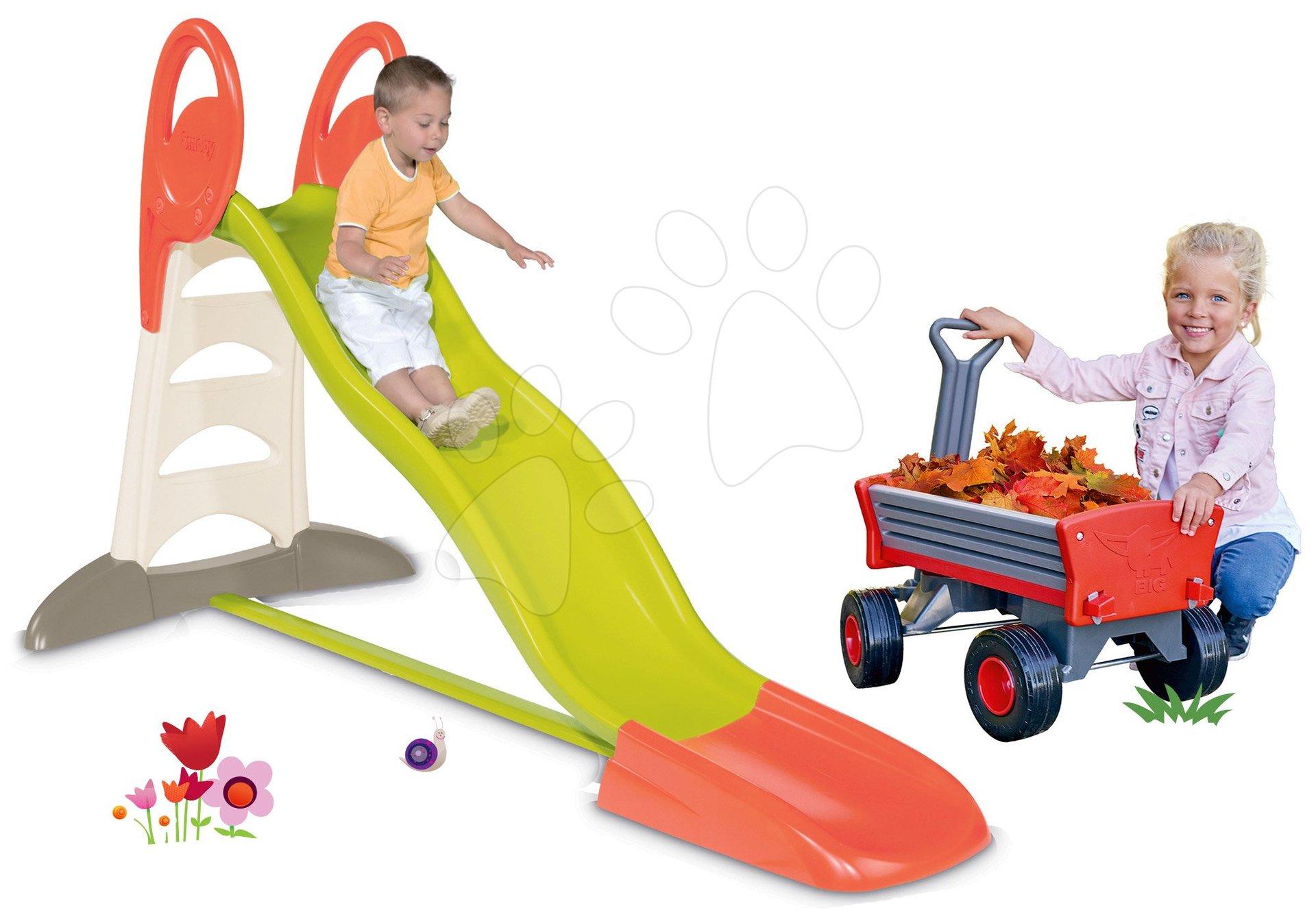 Šmykľavky sety - Set šmykľavka Toboggan XL Smoby s vodou dĺžka 230 cm a záhradný vozík Peppy s otočnými kolesami
