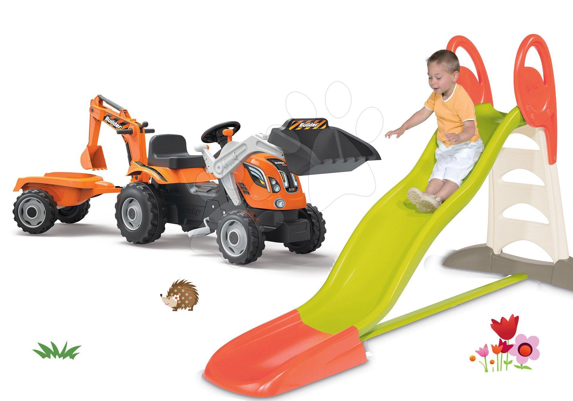Smoby šmykľavka Toboggan XL a detský traktor Builder Max s prívesom, bagrom a nakladačom 310261-12