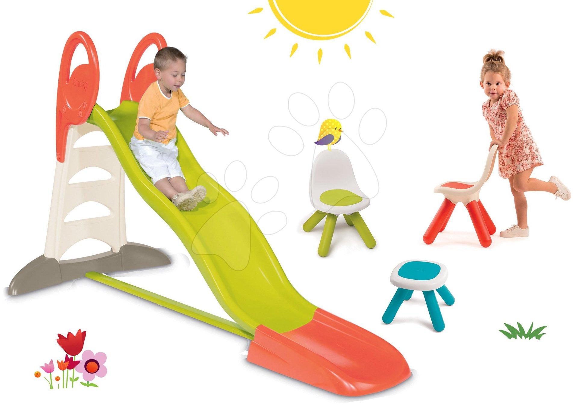 Set skluzavka Toboggan XL Smoby 2,3 m a Piknik stolek se dvěma židlemi KidChair