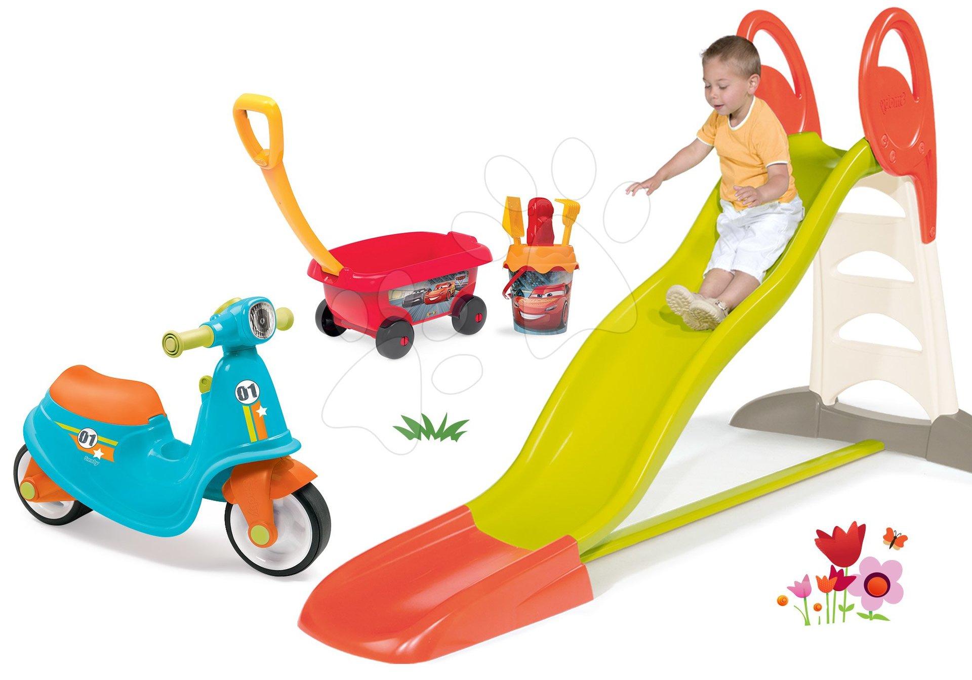 Set šmykľavka Toboggan XL s vodou Smoby a odrážadlo Scooter s gumenými kolesami a vozíkom