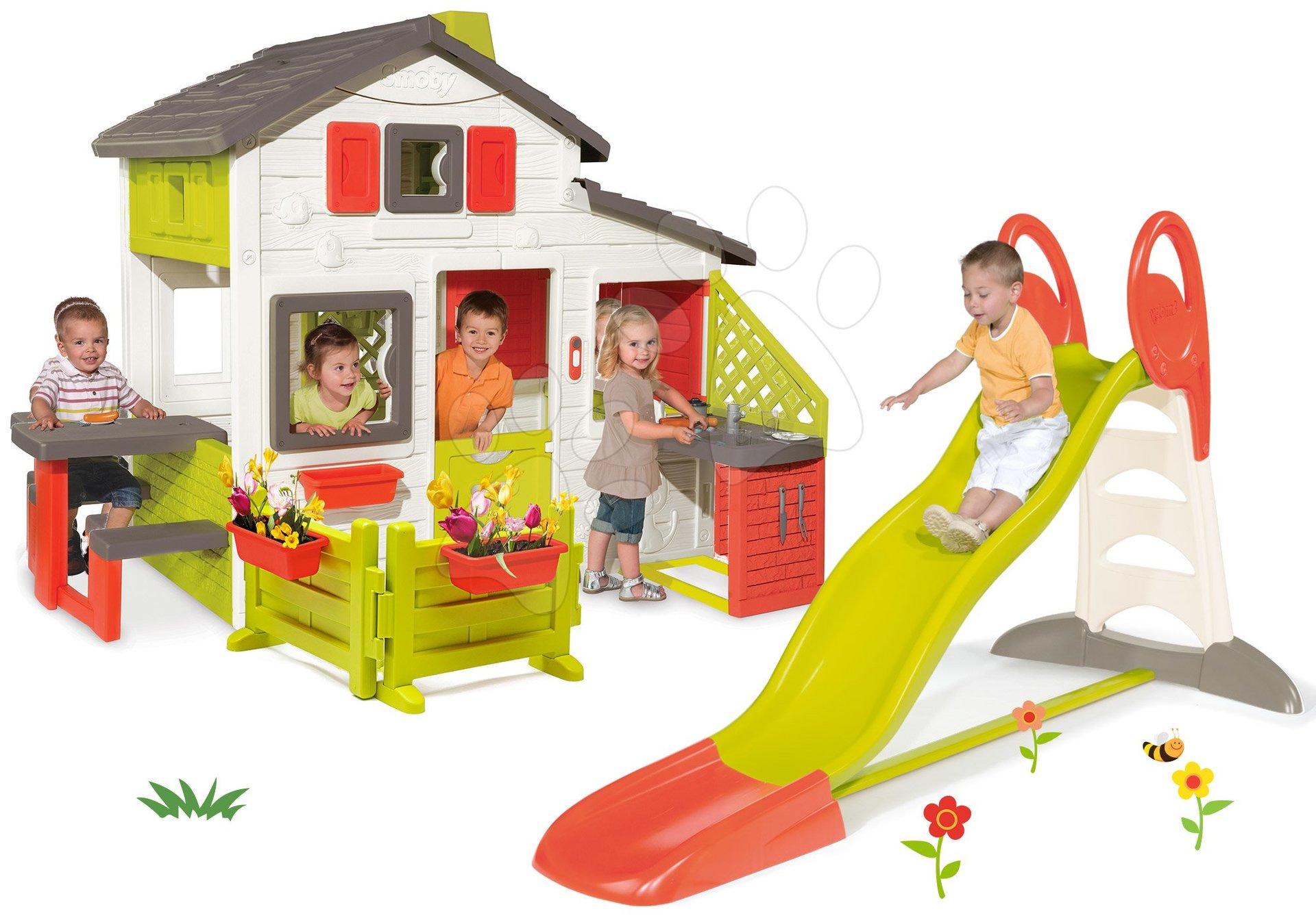 Set šmykľavka Toboggan XL s vodou Smoby a domček Friends House s kuchynkou a záhradkou