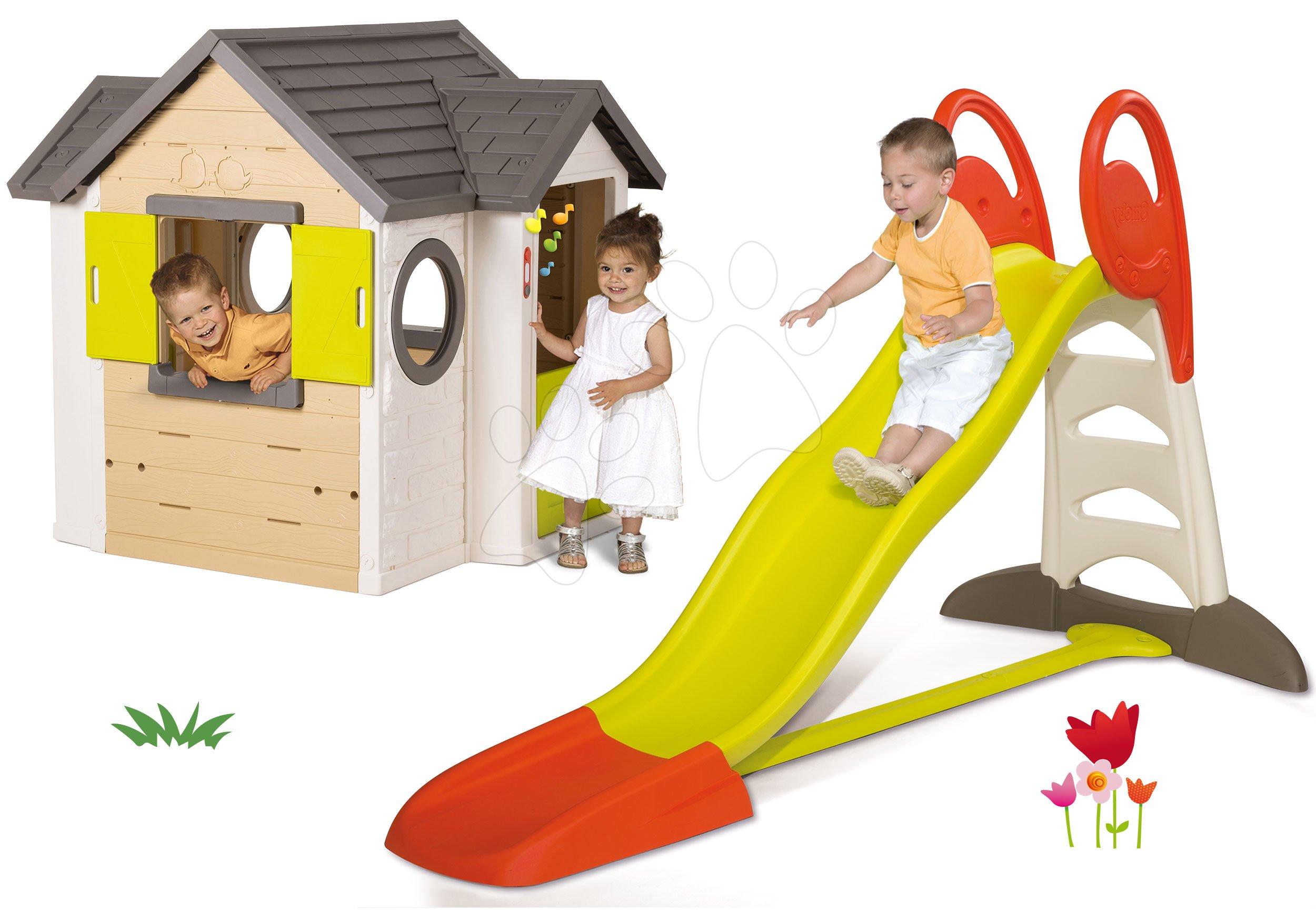 Smoby set šmykľavka Toboggan XL s vodou a detský domček My House 310261-6