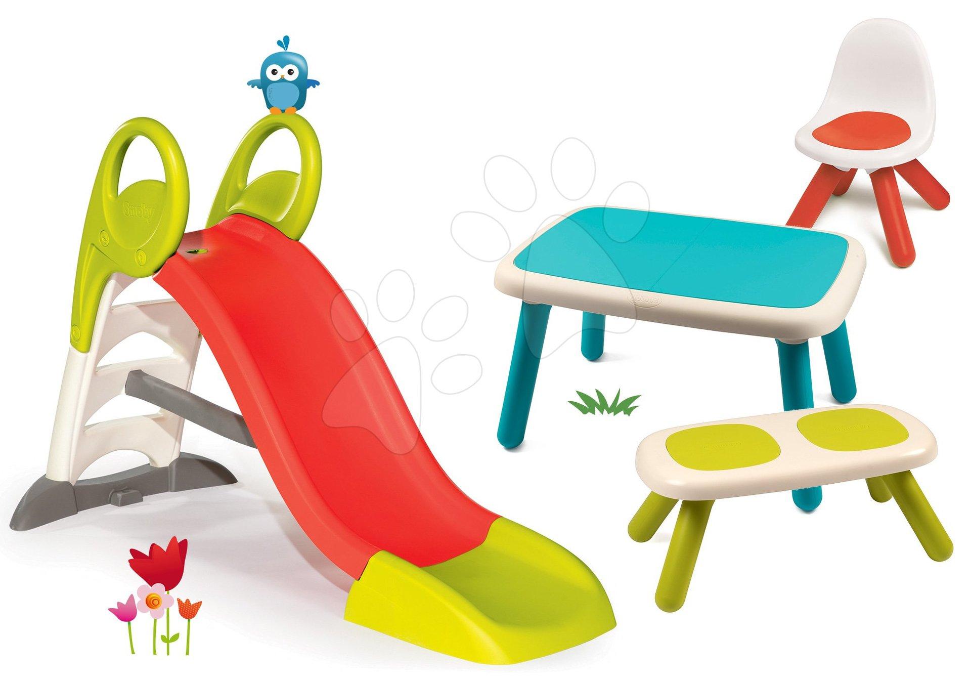 Set skluzavka Toboggan KS Smoby délka 150 cm a piknik stolek se židlí a lavičkou KidChair