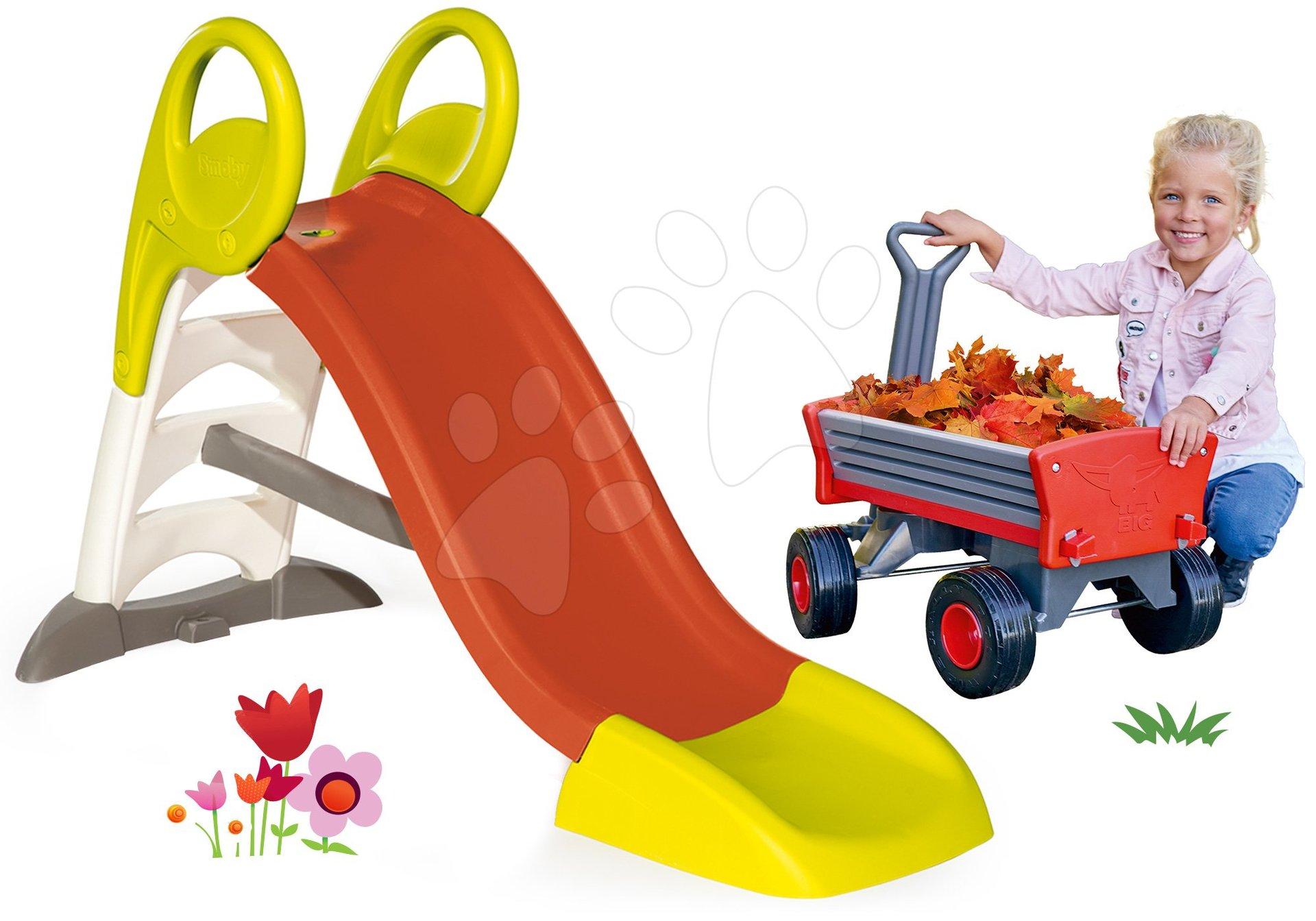 Set skluzavka Toboggan KS Smoby s délkou150 cm a zahradní vozík Peppy s otočnými koly