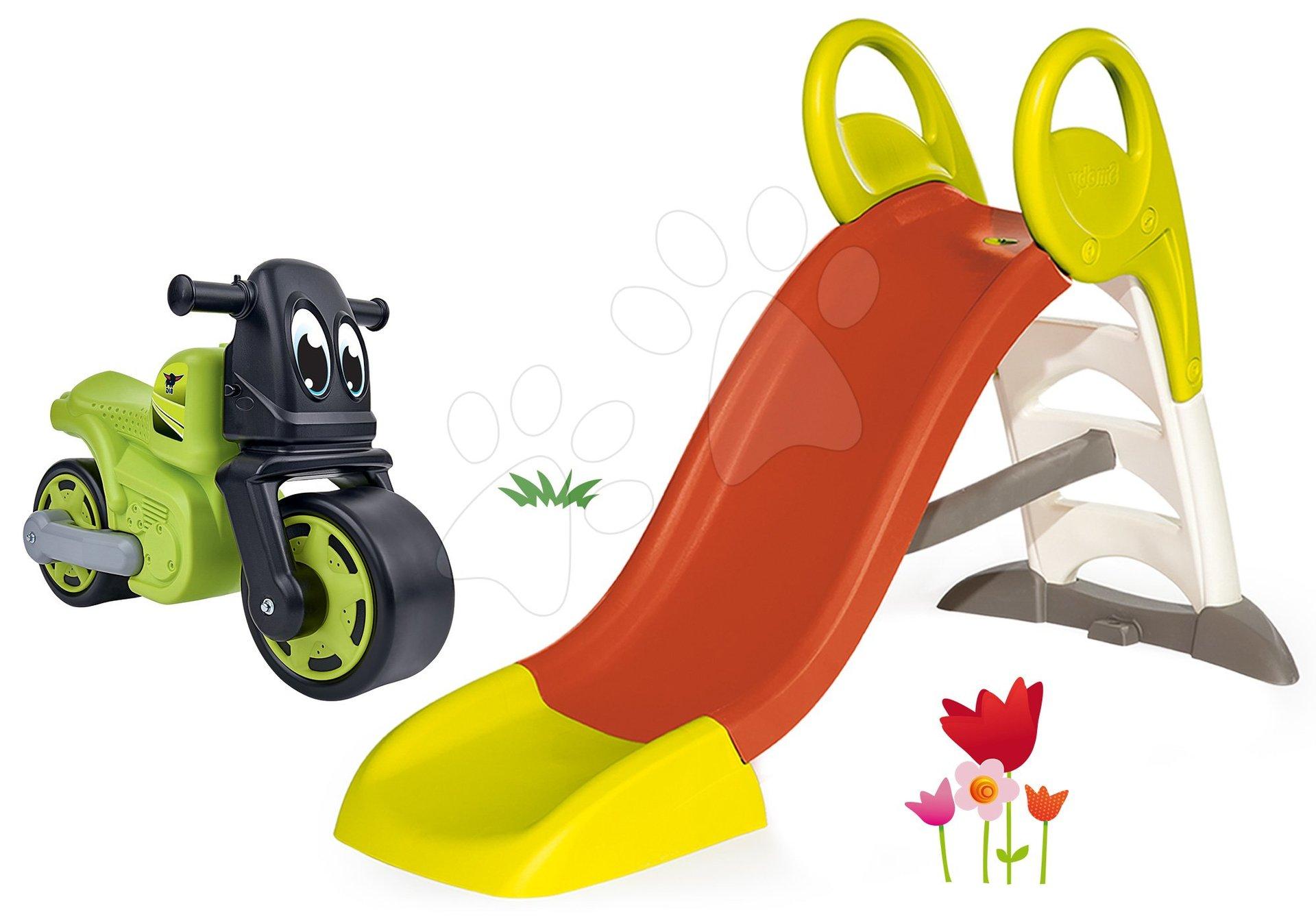 Smoby set dětská skluzavka Toboggan KS a BIG odrážedlo Racing Bike 310262-12