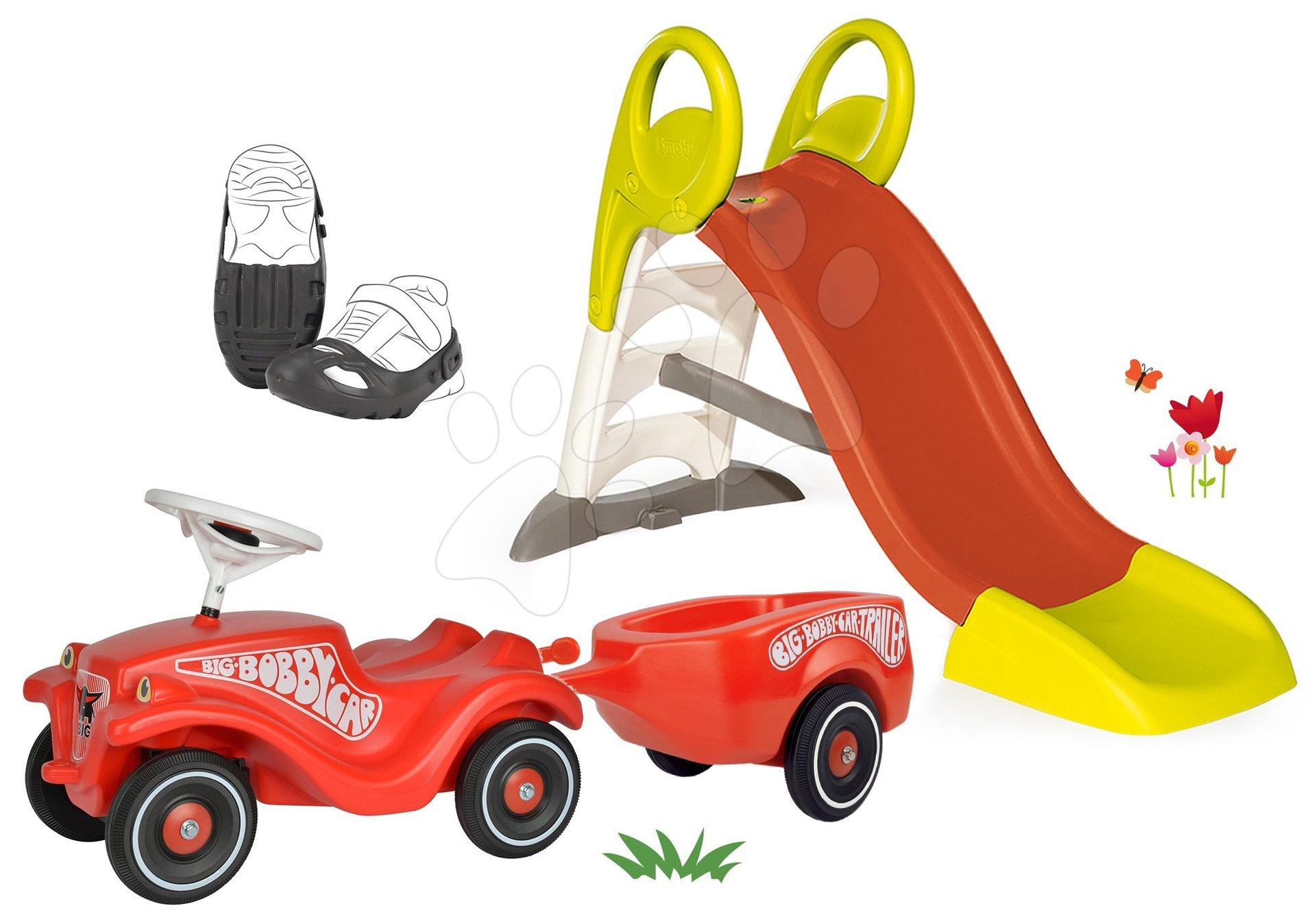 Smoby dětská skluzavka Toboggan KS a BIG odrážedlo New Bobby s návleky na boty 310262-13