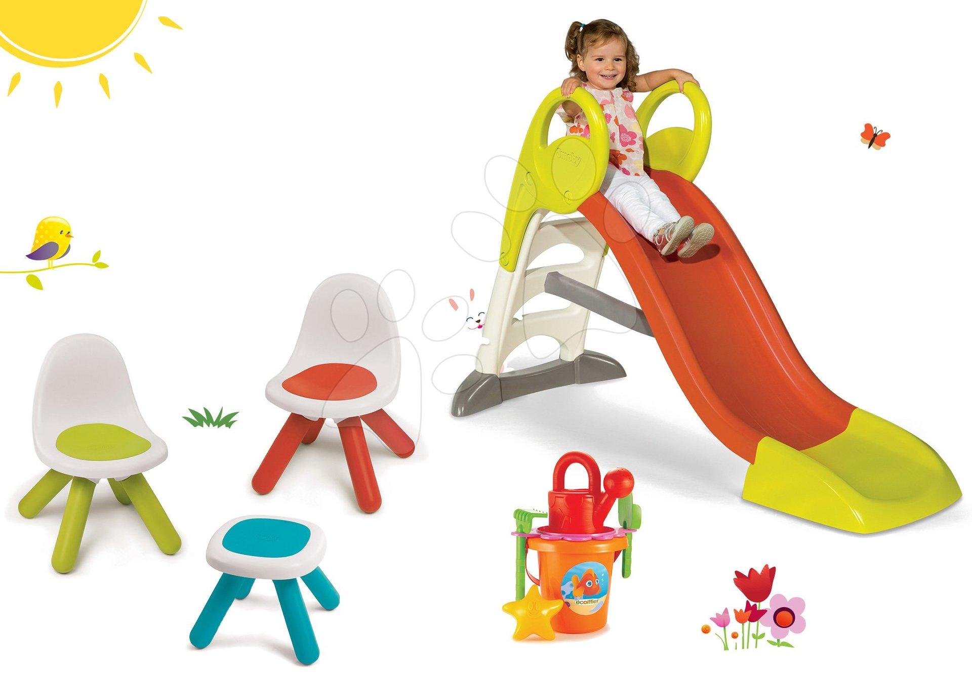 Smoby stredná šmýkačka Toboggan KS a stolík pre deti Piknik s dvoma stoličkami KidChair a vedro setom 310262-5