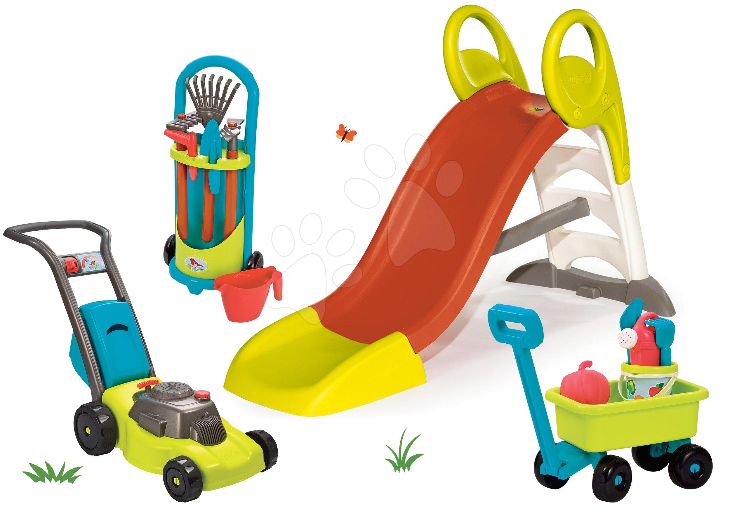 Set skluzavka Tobbogan KS Smoby s délkou 150 cm vozík na tahání s kbelík setem, sekačkou a nářadí na zahradu od 24 měsíců