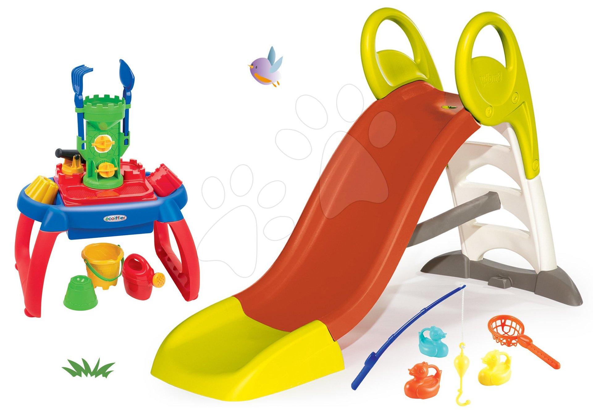 Skluzavky pro děti - Set skluzavka Toboggan KS Smoby s délkou 150 cm a pískoviště stolek na vodu a písek a rybářská udice od 24 měsíců