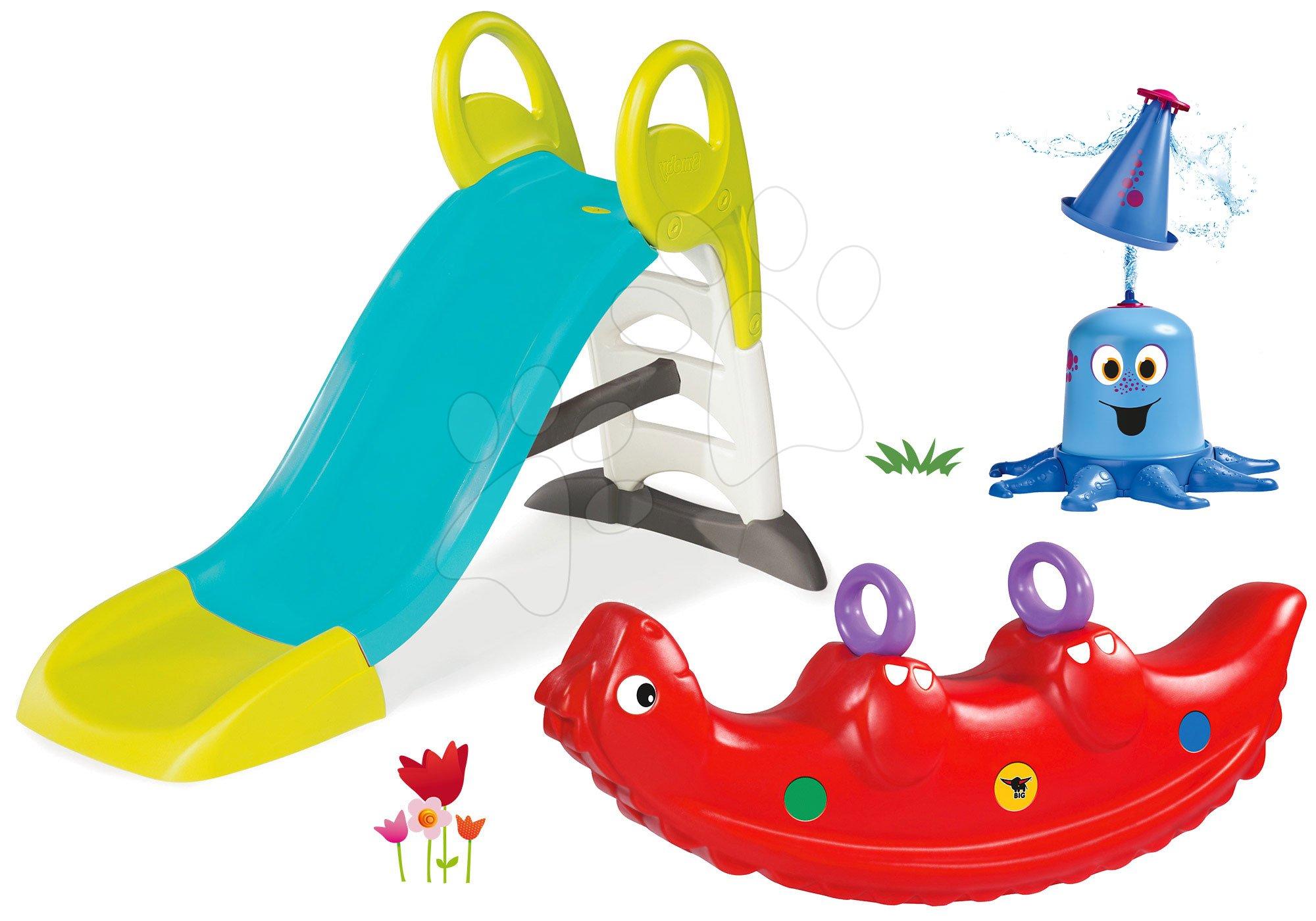 Set šmykľavka Toboggan KS s dĺžkou 150 cm Smoby a hojdačka dinosaurus obojstranná s vodnou chobotnicou