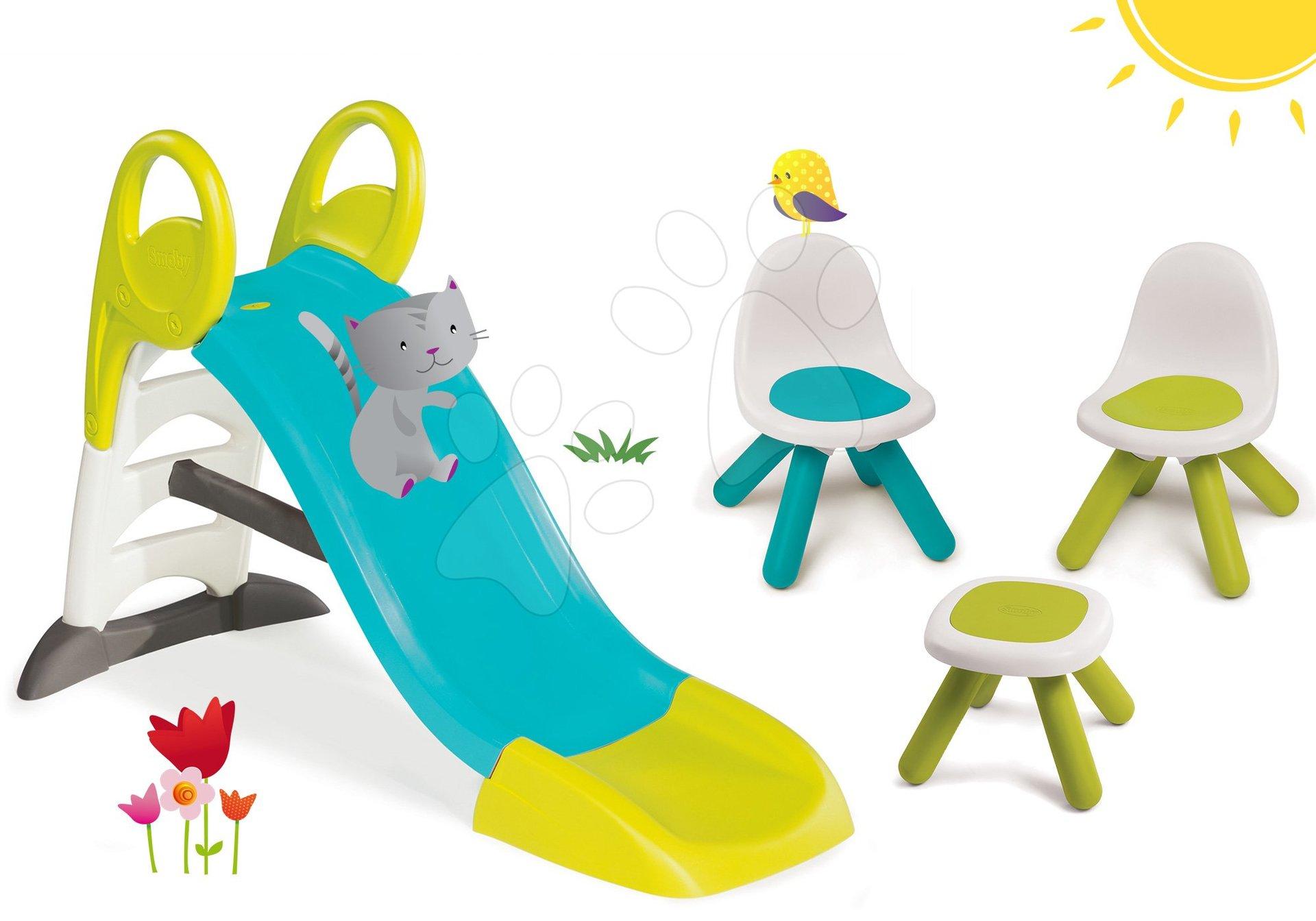 Set skluzavka Toboggan KS Smoby 150 cm a Piknik stolek se dvěma židlemi KidChair Blue od 24 měsíců